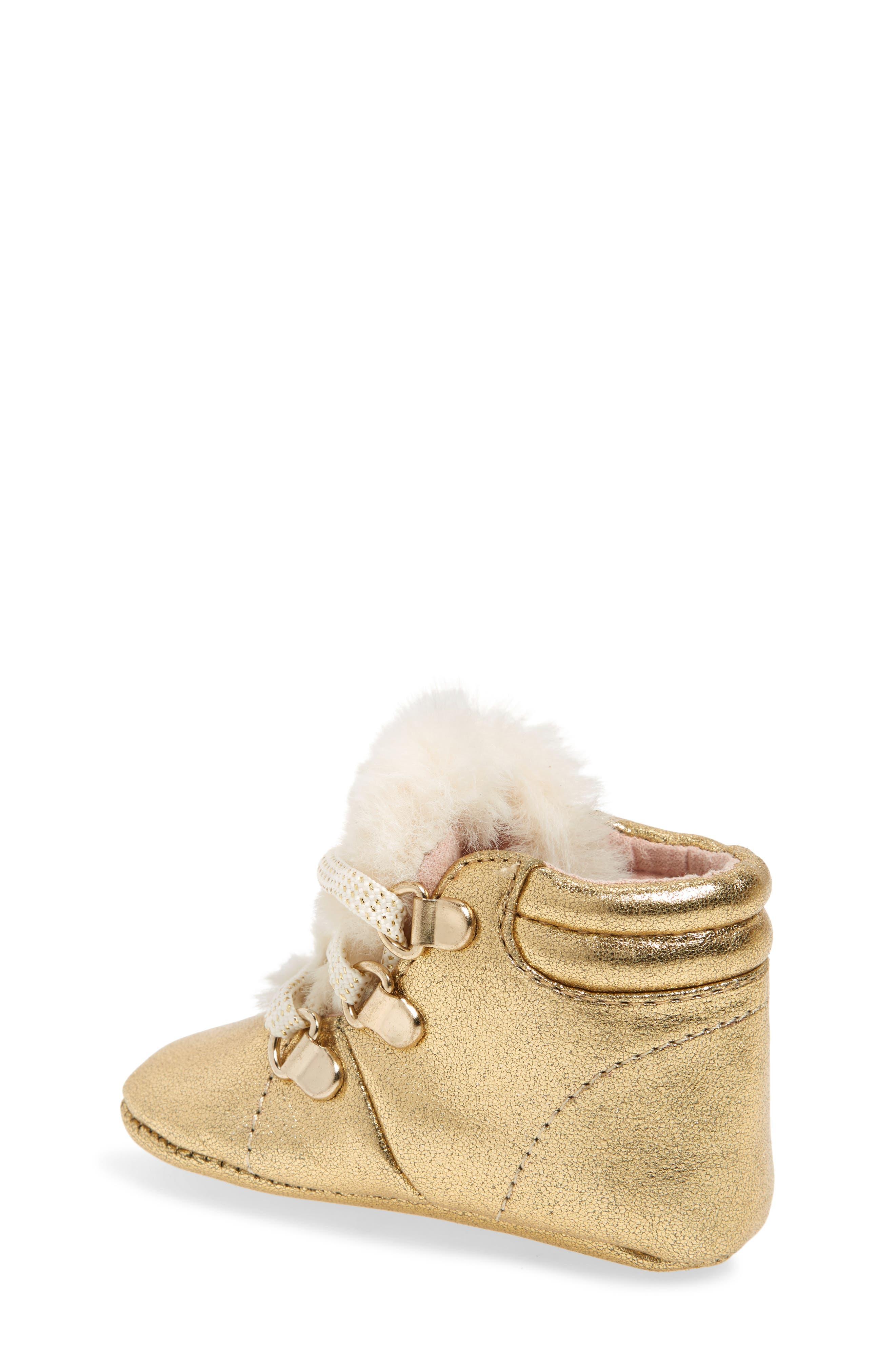 Faux Fur Metallic Crib Sneaker,                             Alternate thumbnail 2, color,                             GOLD CRACKLE METALLIC