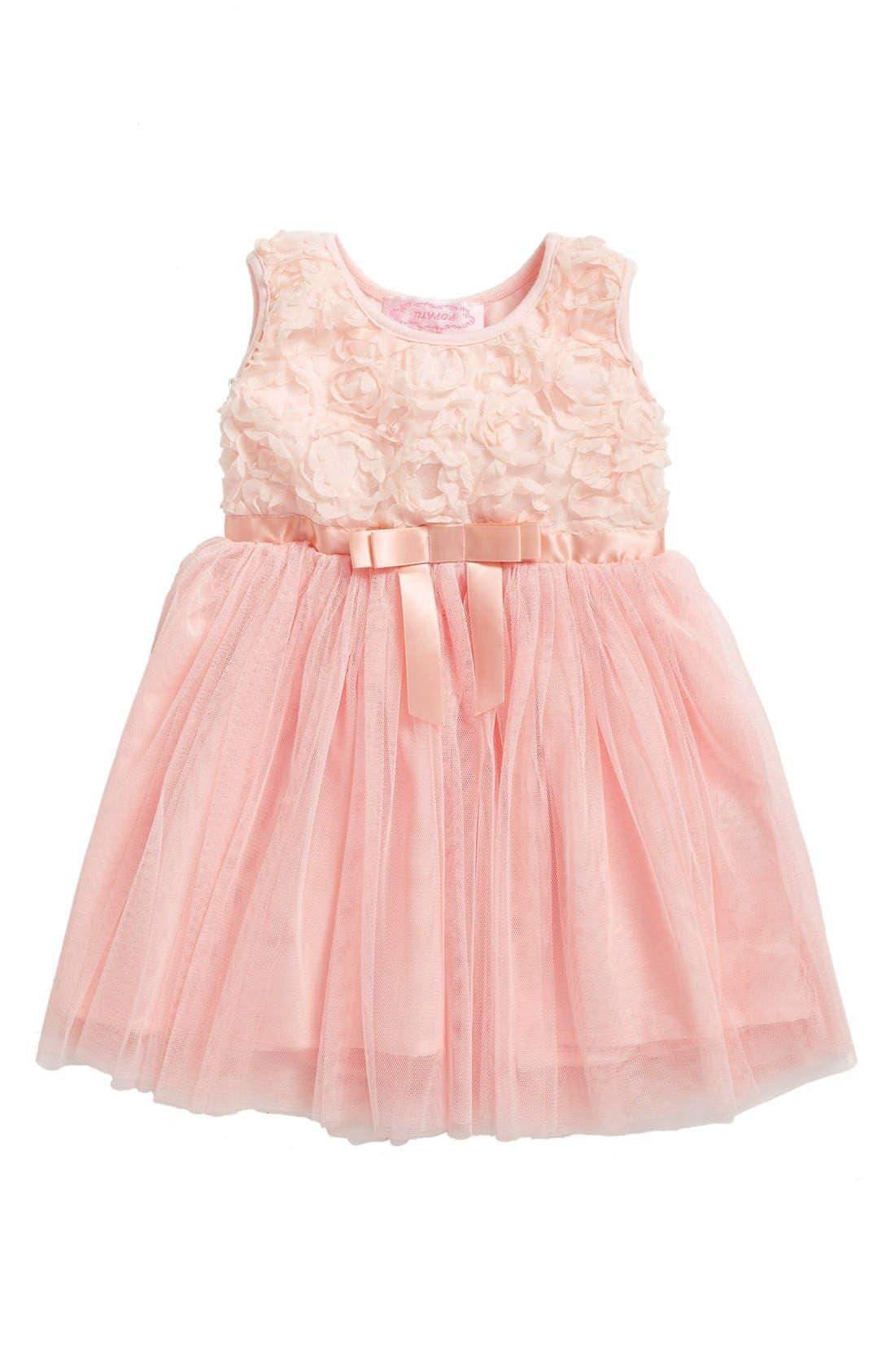 Empire Waist Rosette Dress,                         Main,                         color, PEACH