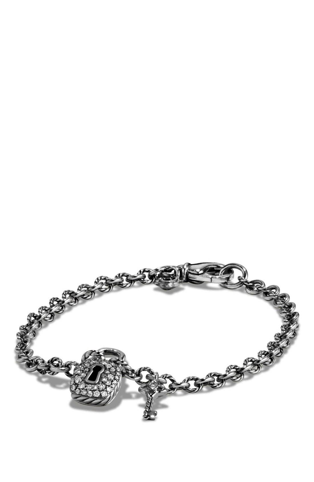 'Cable Collectibles' Lock and Key Charm Bracelet with Diamonds,                             Main thumbnail 1, color,                             SILVER