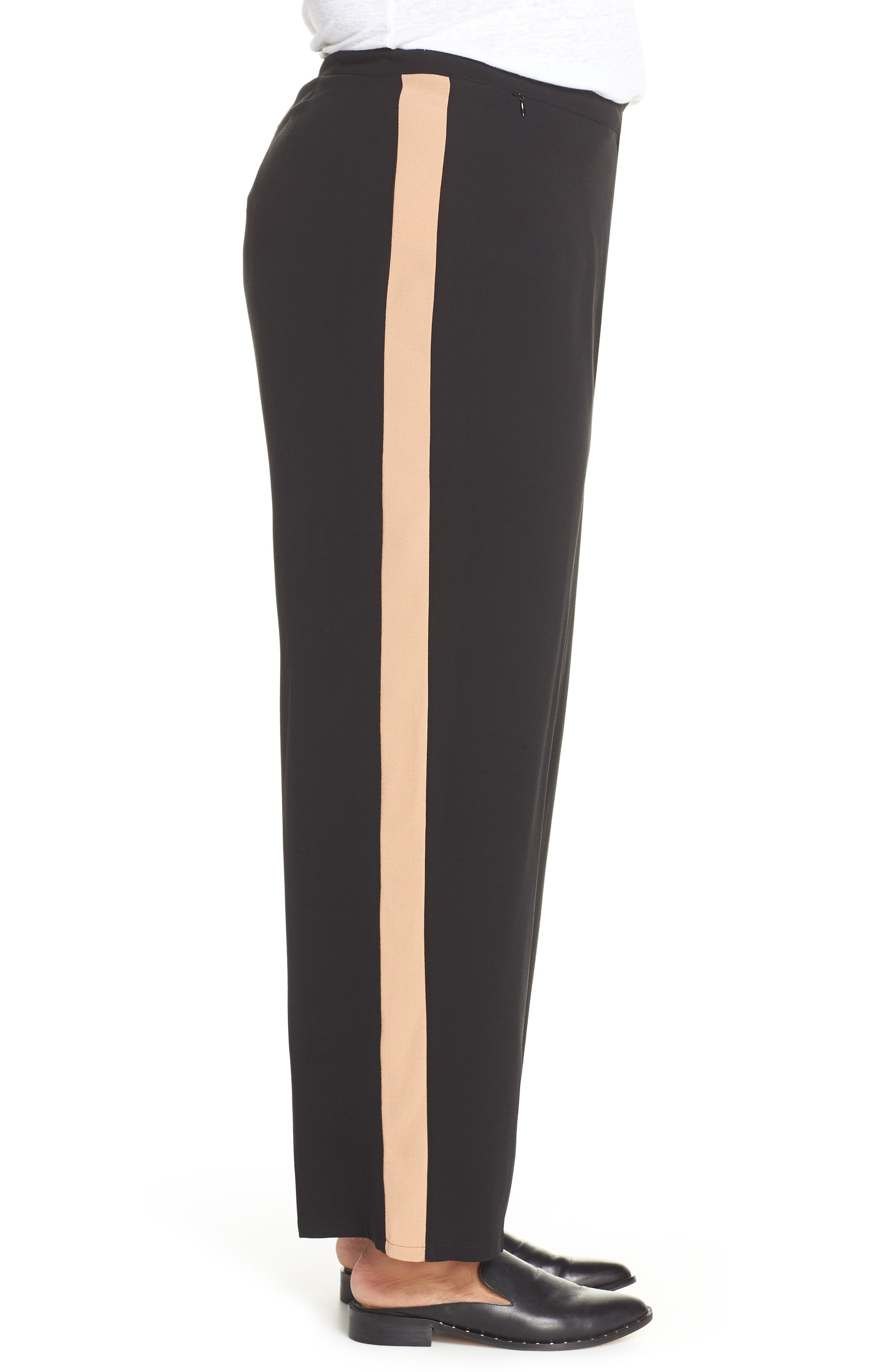 High Rise Side Stripe Silk Pants,                             Alternate thumbnail 3, color,                             BLACK
