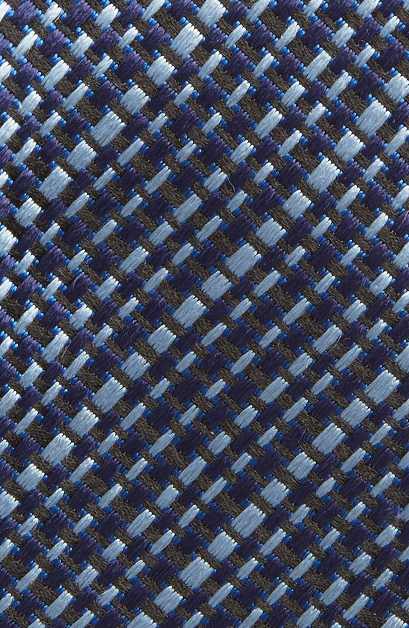 Grid Silk Tie,                             Alternate thumbnail 2, color,                             OPEN BLUE