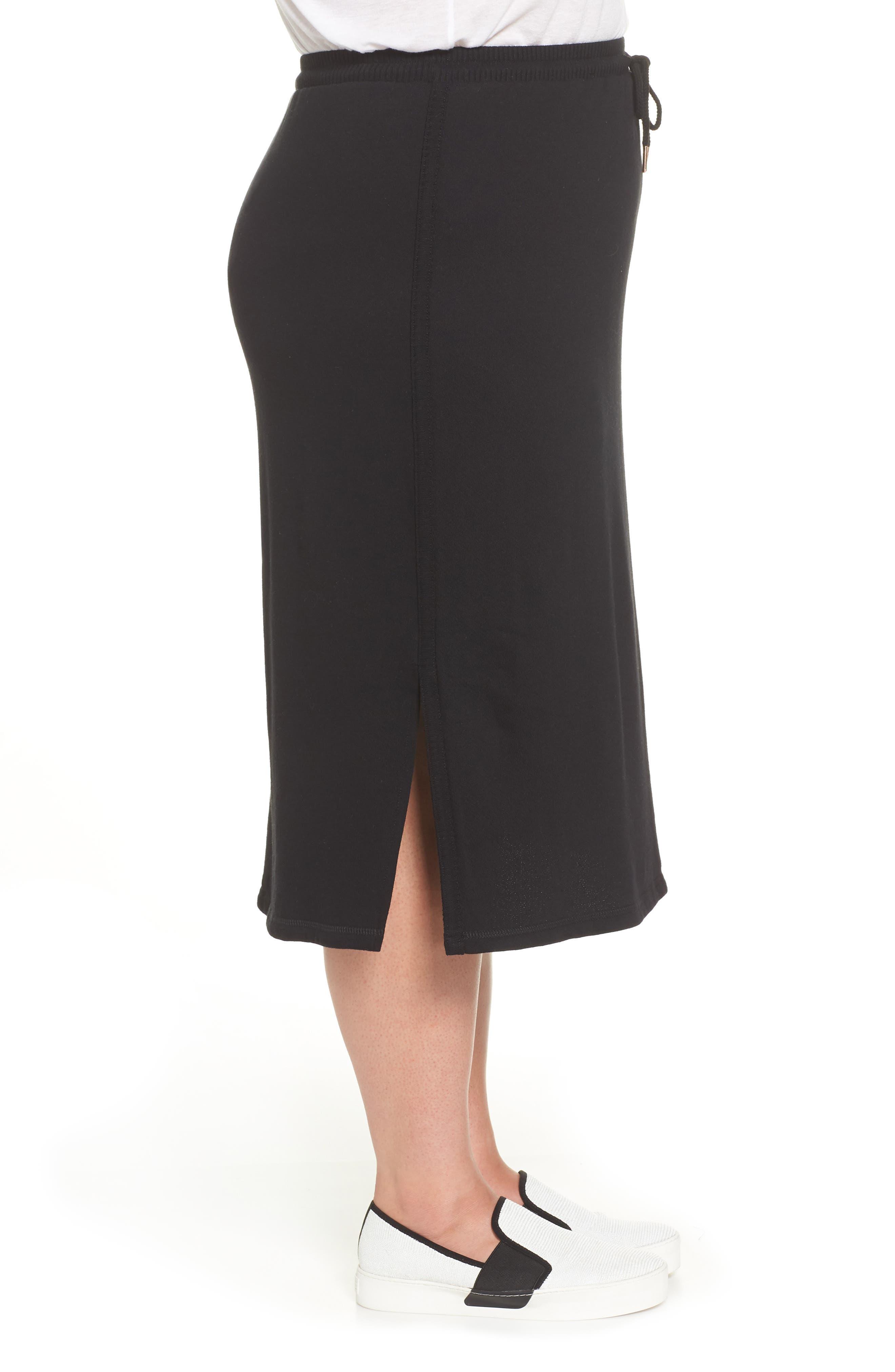 Ribbed Trim Midi Skirt,                             Alternate thumbnail 3, color,                             001