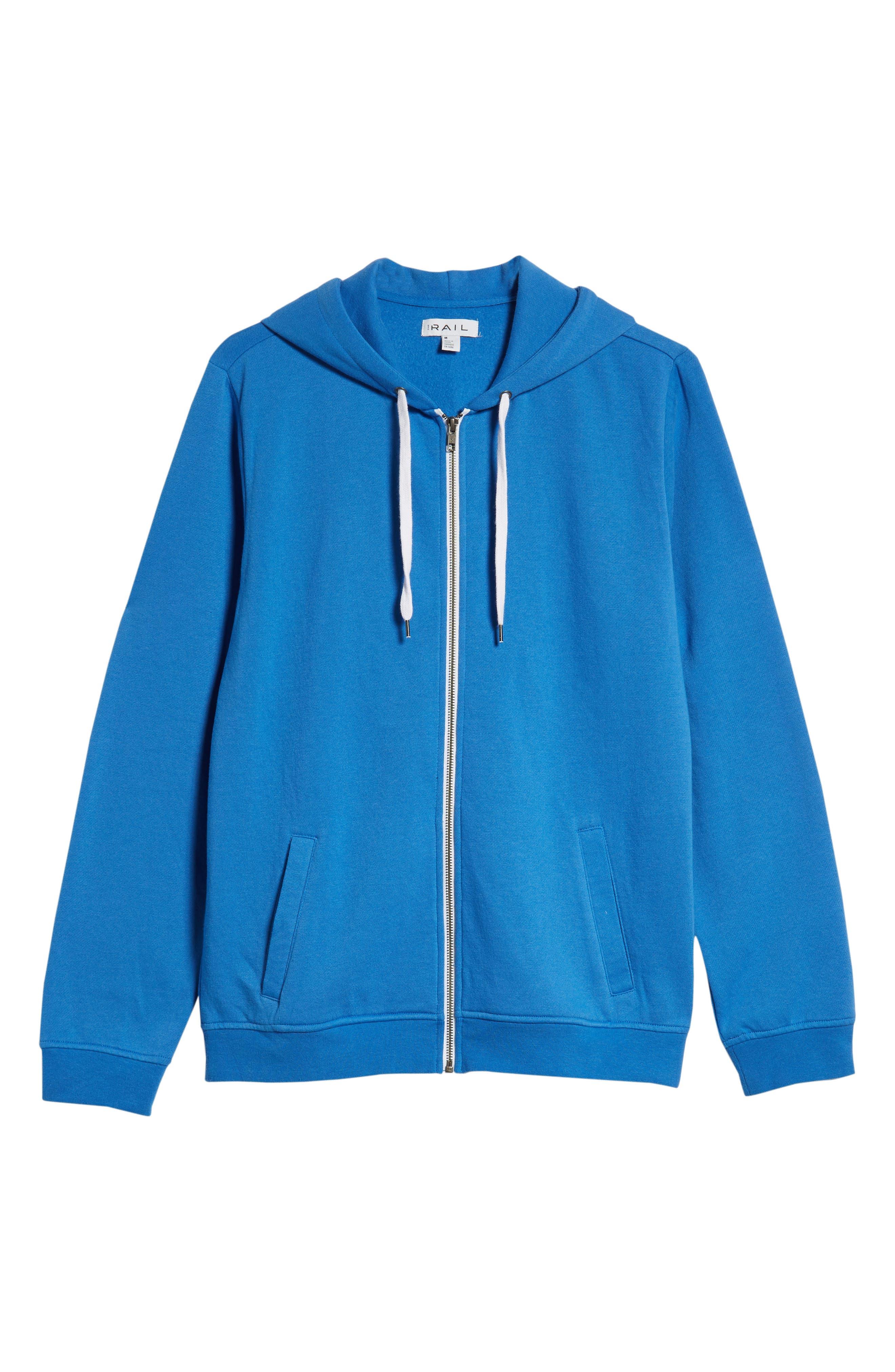 Full Zip Hoodie,                             Alternate thumbnail 6, color,                             BLUE BLISS