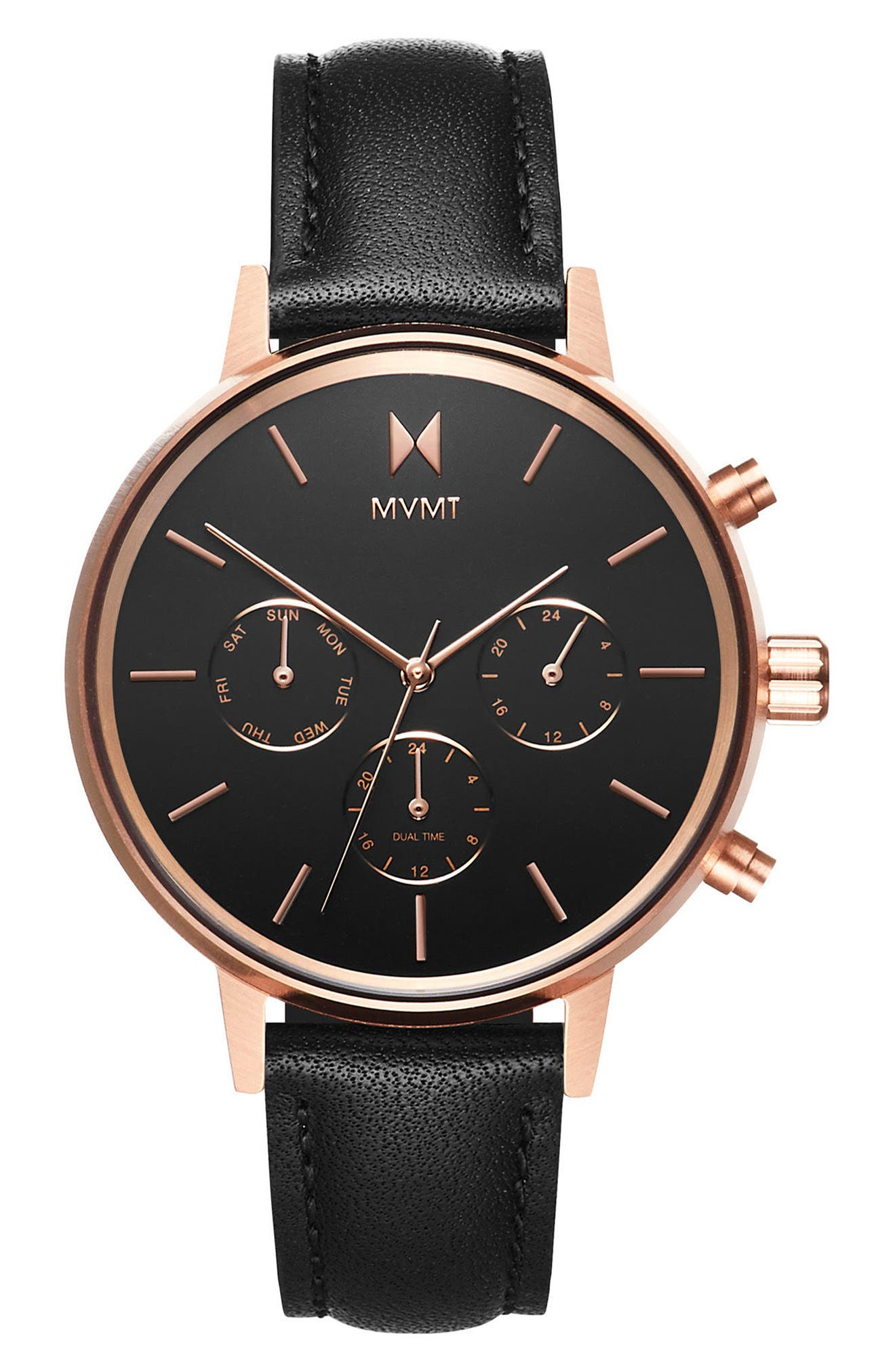 Nova Chronograph Leather Strap Watch, 38mm,                         Main,                         color, BLACK/ ROSE GOLD