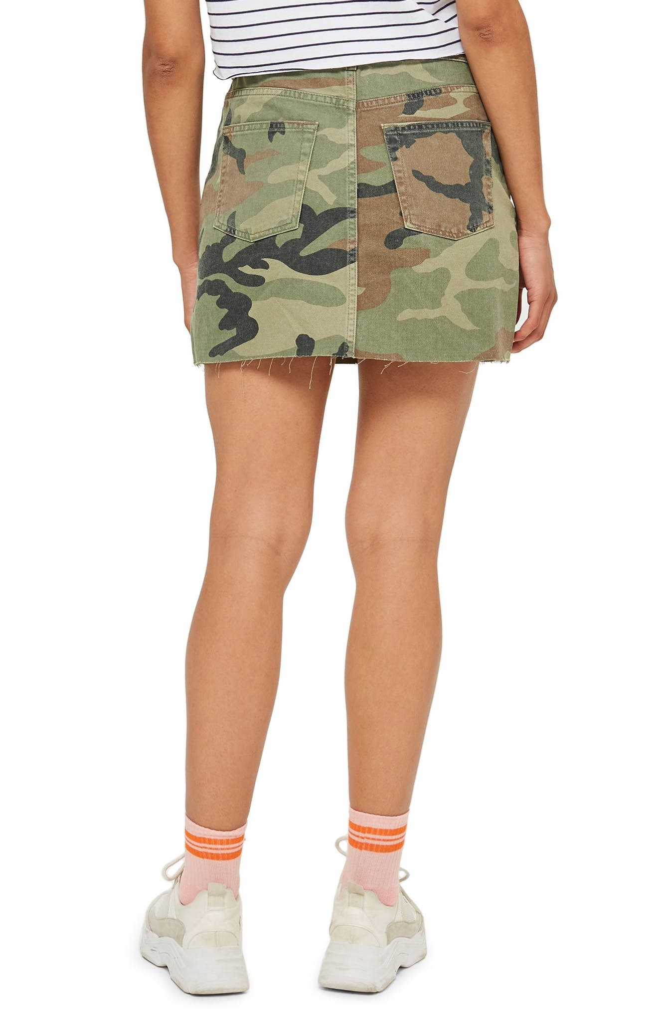 Camouflage Denim Skirt,                             Alternate thumbnail 2, color,                             GREEN MULTI