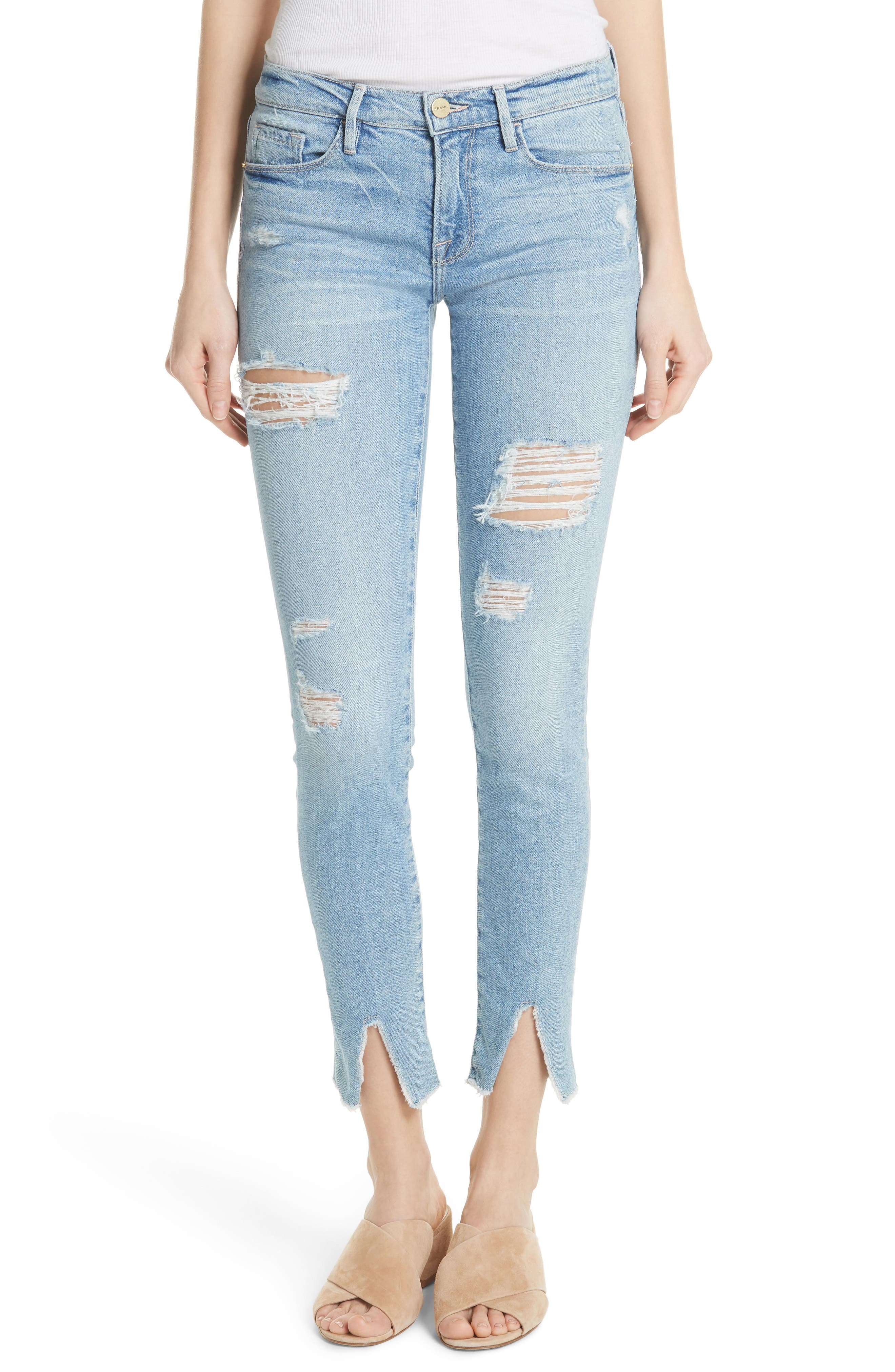 Le Skinny de Jeanne Split Hem Jeans,                             Main thumbnail 1, color,                             HIGHGATE