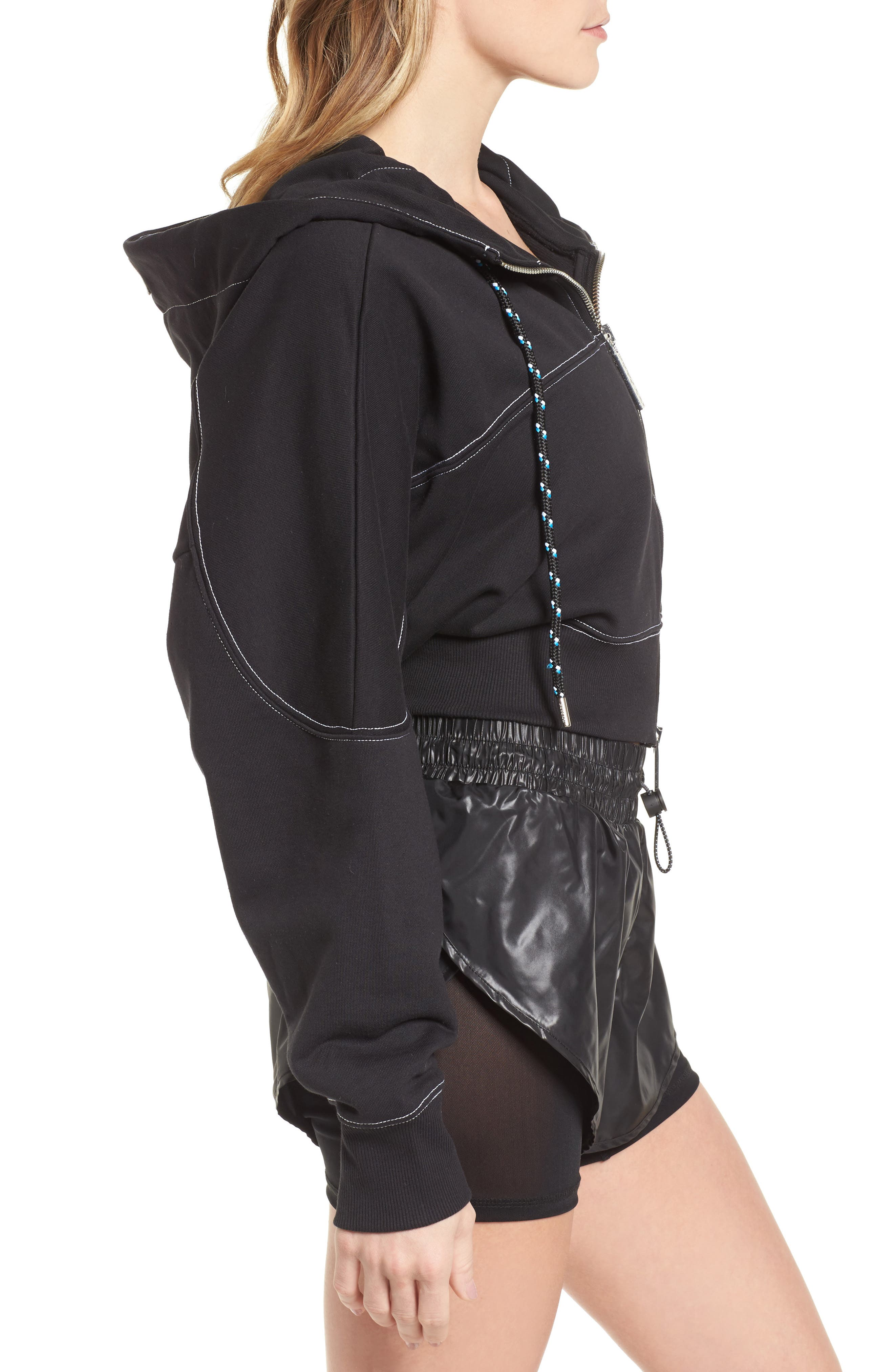 Lace-Up Back Zip Through Hoodie,                             Alternate thumbnail 3, color,                             001