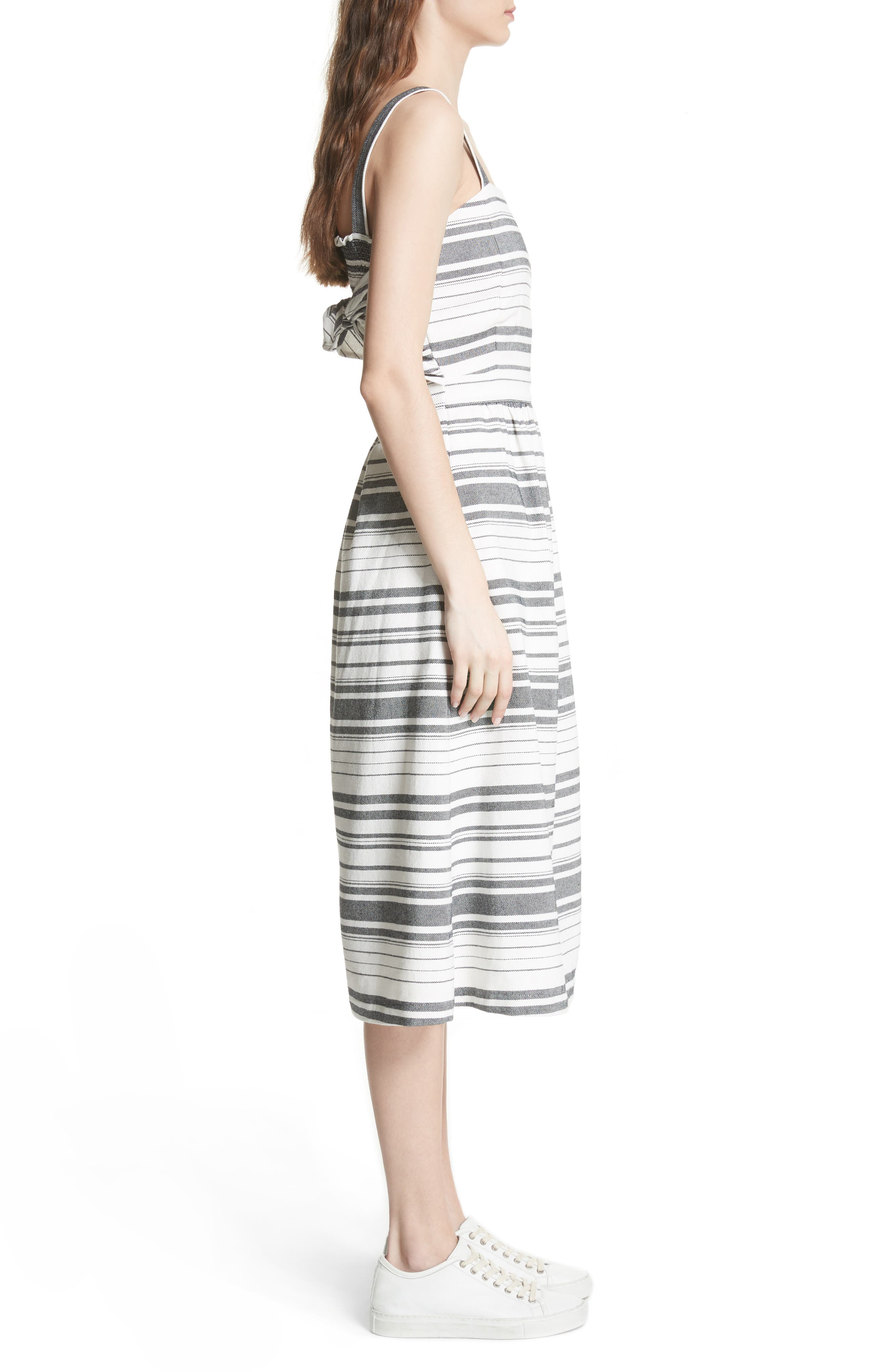 Cabeza Stripe Backless Cotton Sundress,                             Alternate thumbnail 3, color,                             102