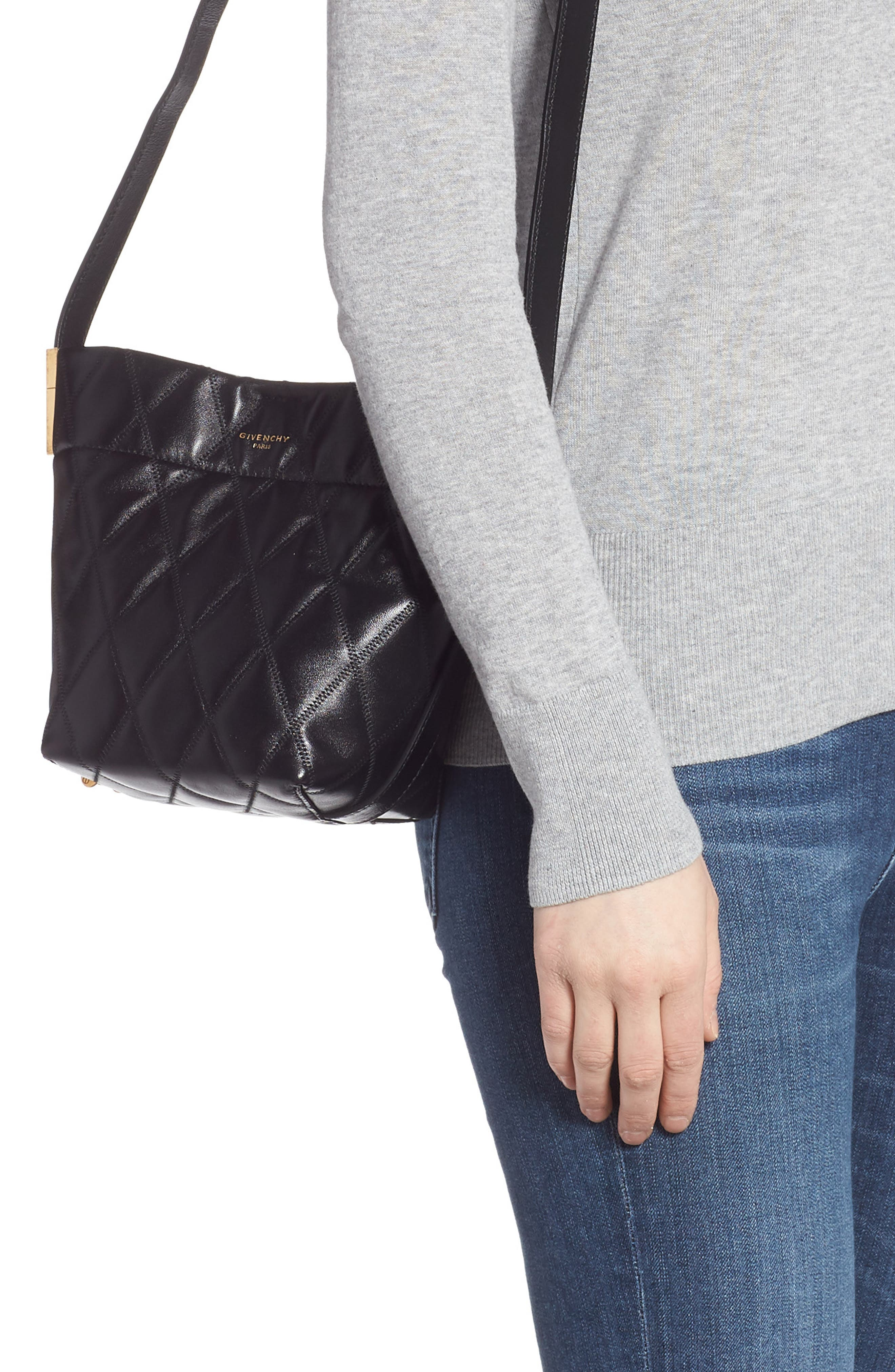 GIVENCHY,                             Mini GV Quilted Lambskin Leather Bucket Bag,                             Alternate thumbnail 2, color,                             BLACK