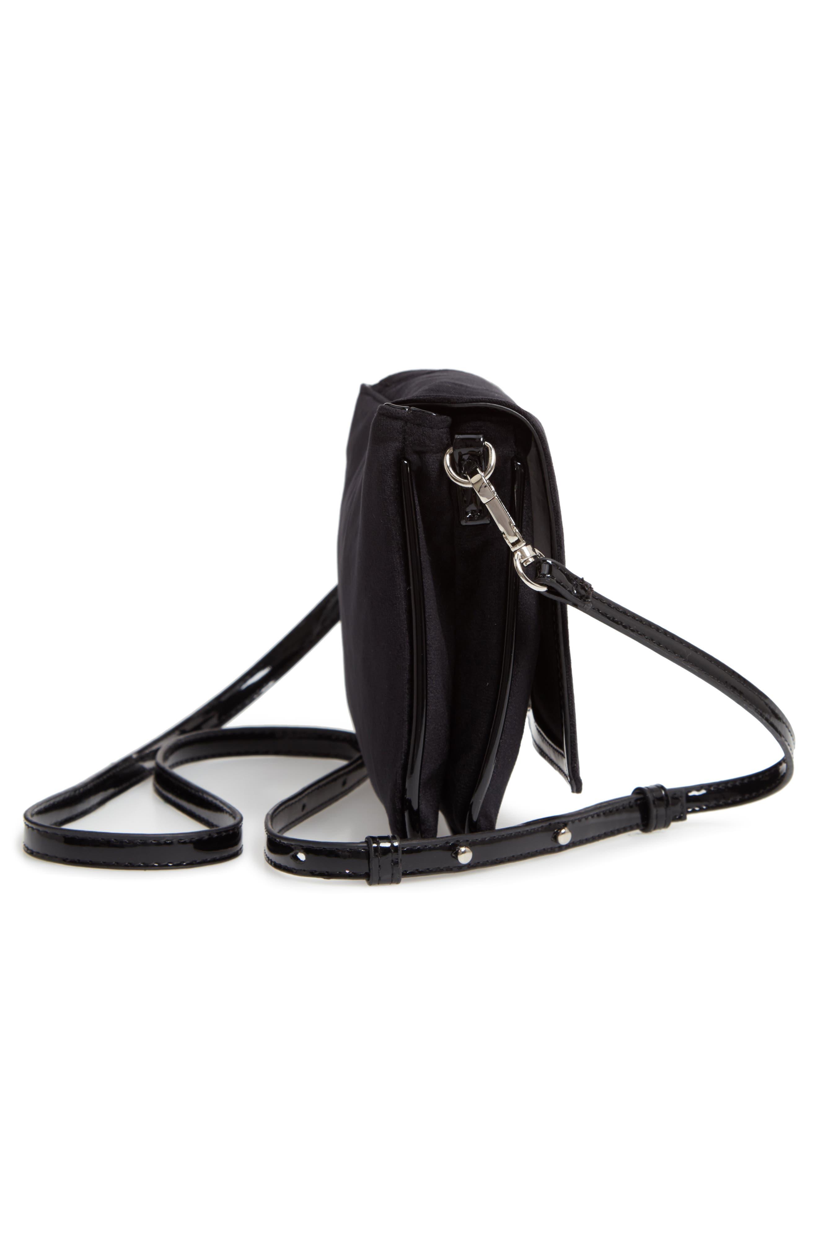 Velvet Crossbody Bag,                             Alternate thumbnail 5, color,                             BLACK