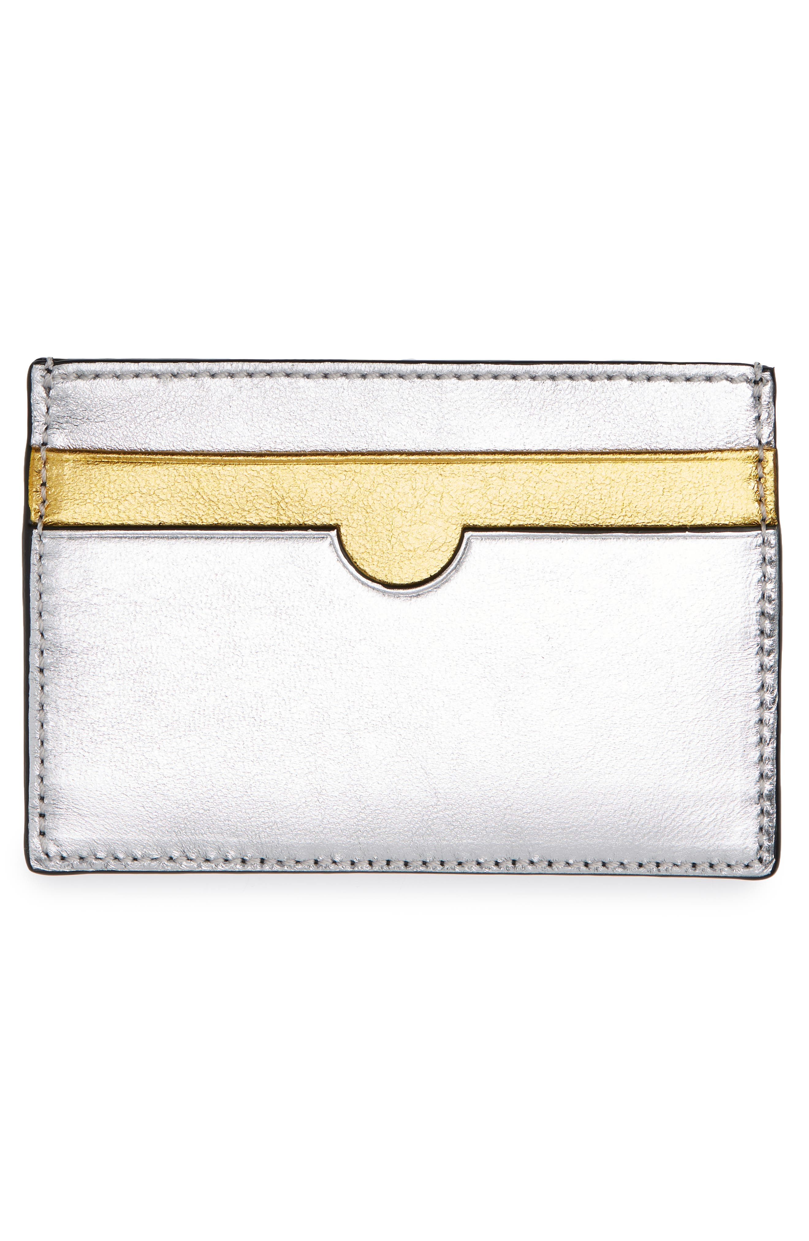 Rainbow Leather Card Holder,                             Alternate thumbnail 2, color,                             GOLD/ SILVER