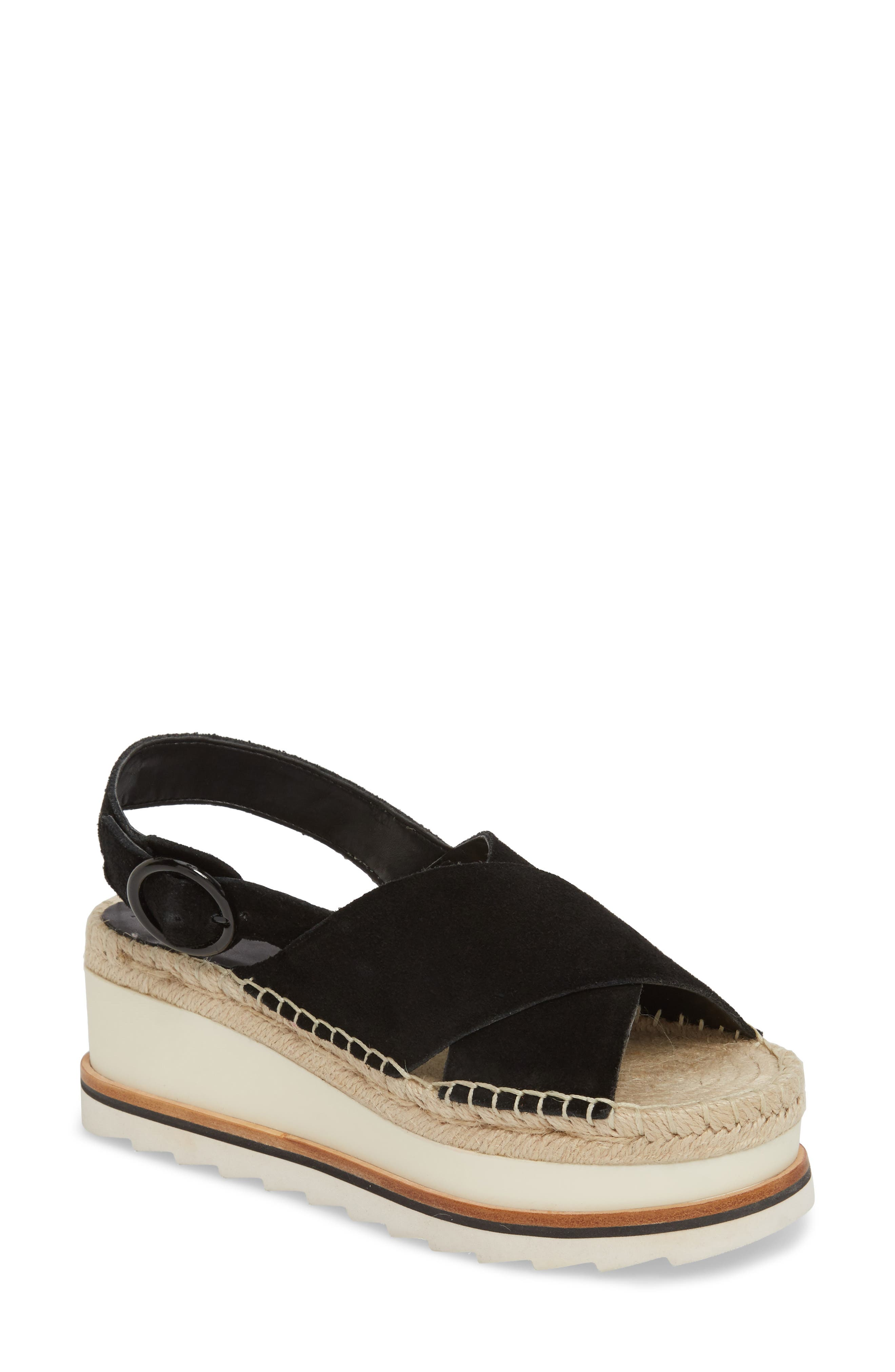 Glenna Platform Slingback Sandal,                             Main thumbnail 1, color,                             BLACK SUEDE
