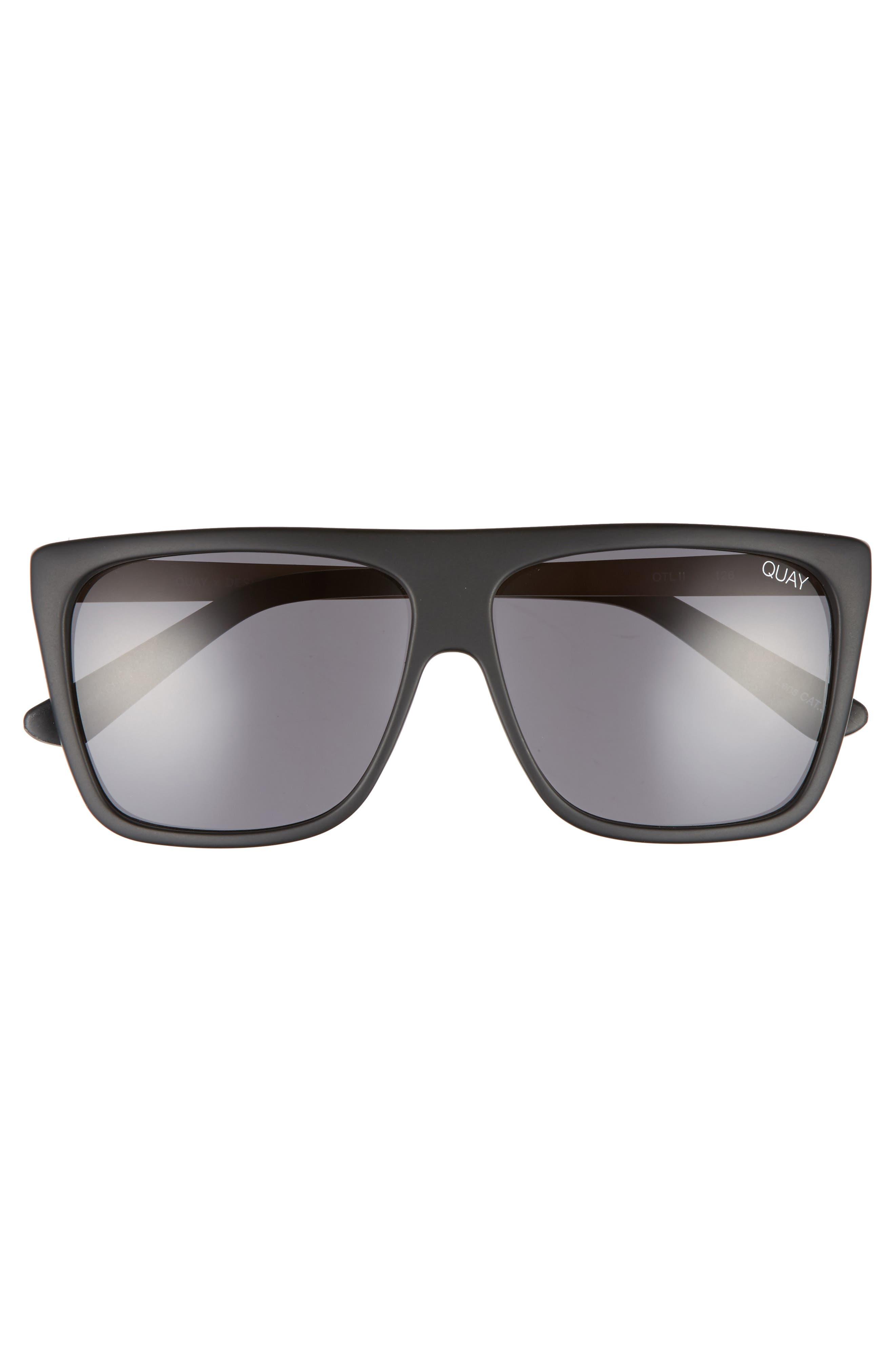 x Desi Perkins On the Low 60mm Square Sunglasses,                             Alternate thumbnail 3, color,                             BLACK/ SMOKE