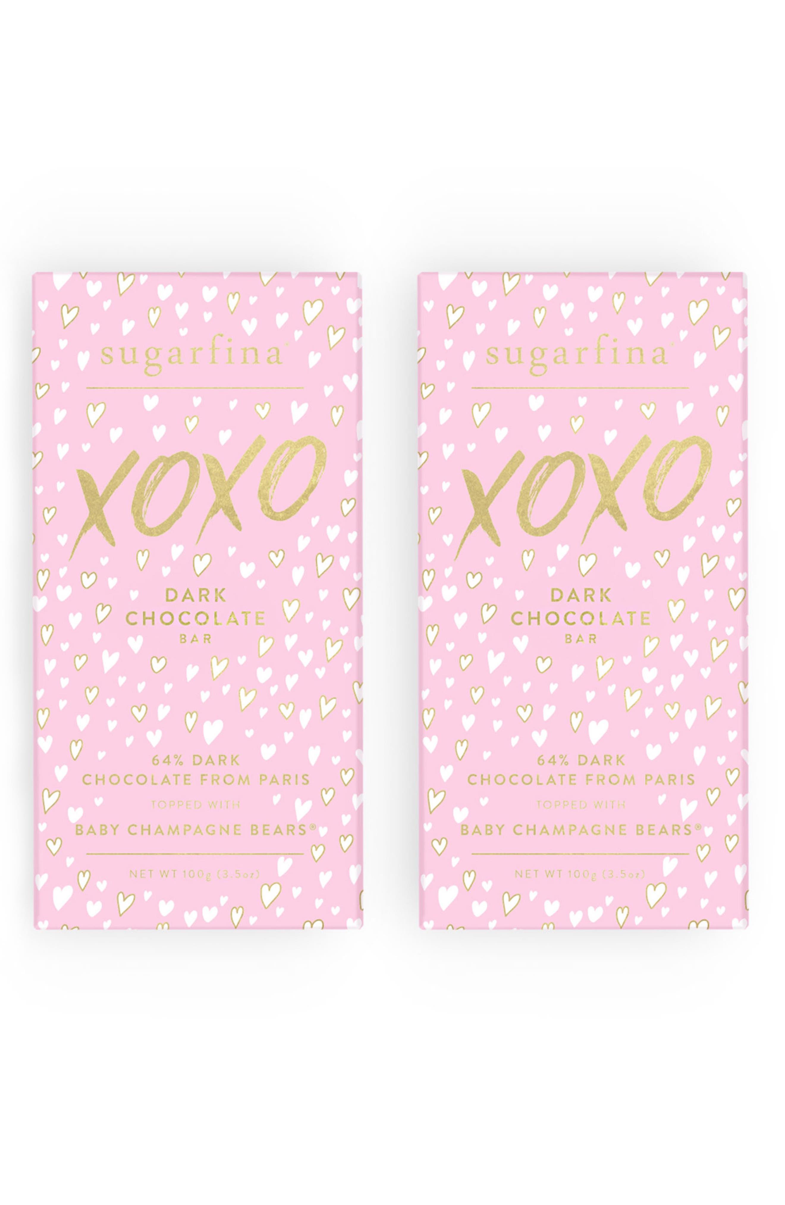 XOXO 2-Pack Dark Chocolate Baby Champagne Bears<sup>®</sup> Bars,                             Main thumbnail 1, color,                             650