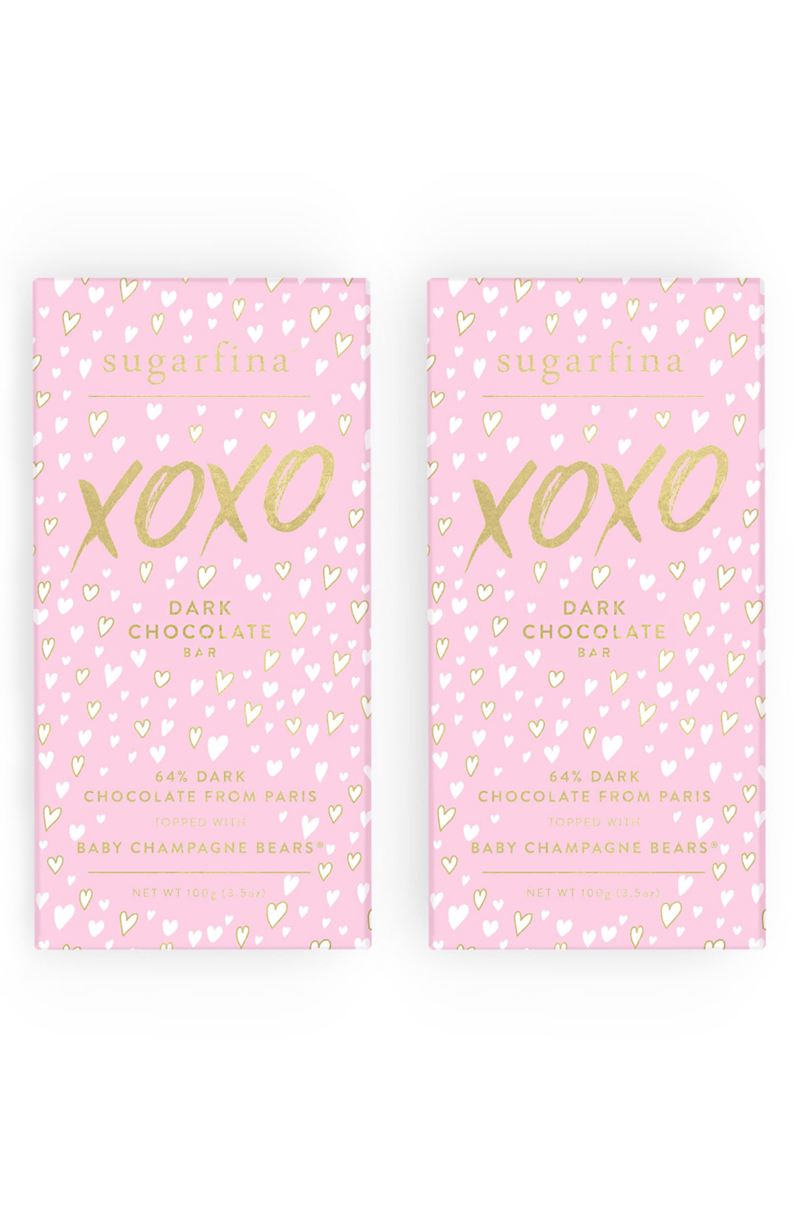 XOXO 2-Pack Dark Chocolate Baby Champagne Bears<sup>®</sup> Bars,                         Main,                         color, 650