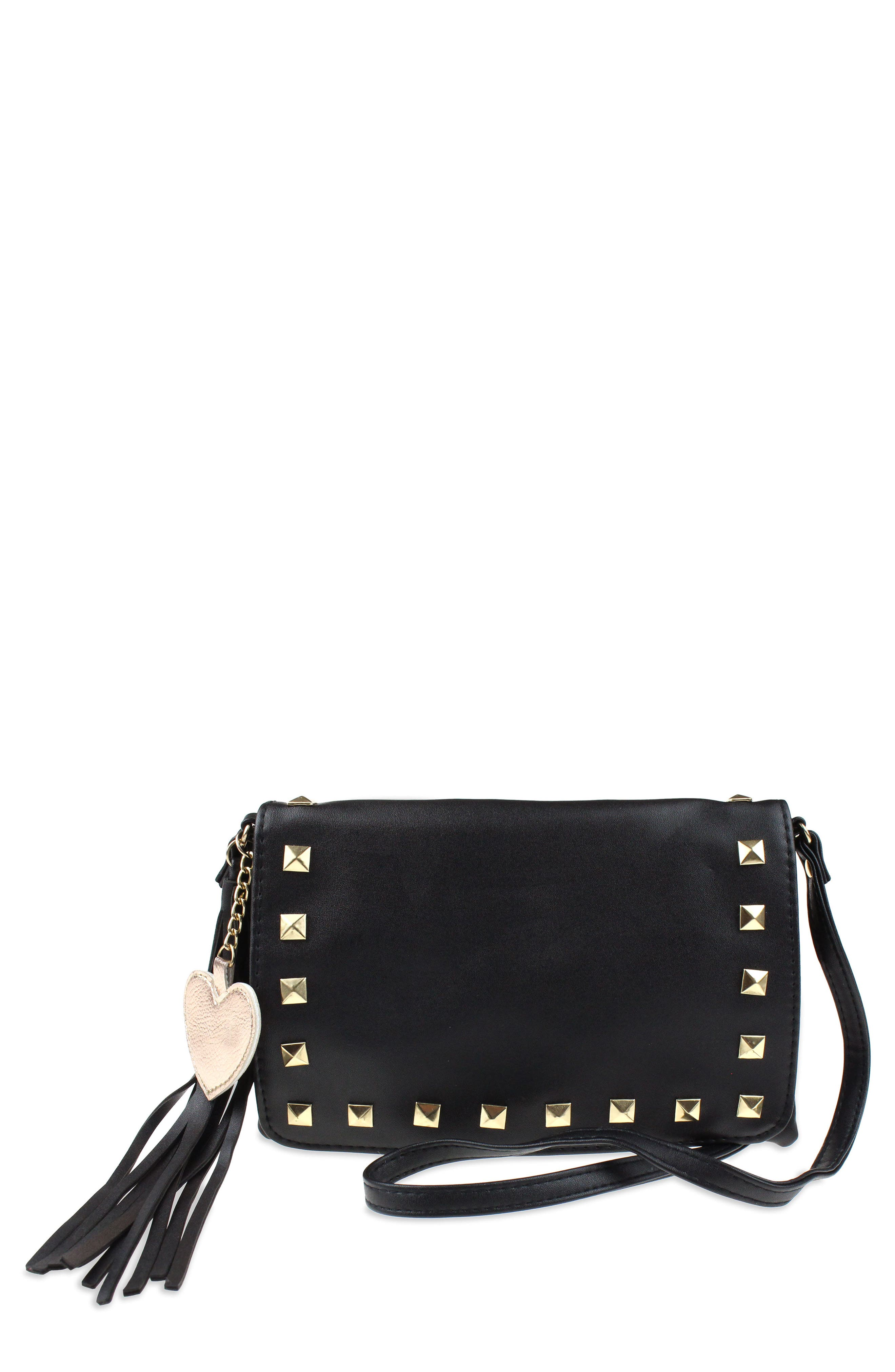 Studded Faux Leather Crossbody Bag,                         Main,                         color, 002