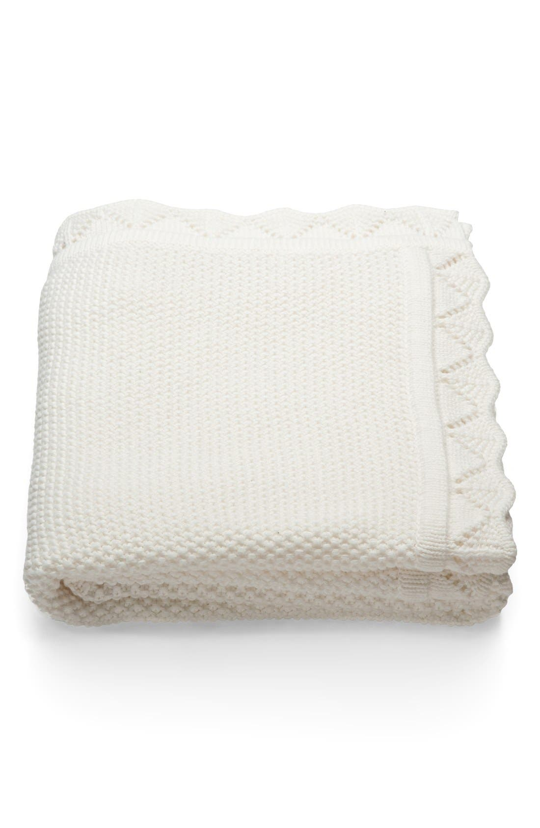 'Classic' Baby Blanket,                         Main,                         color, WHITE