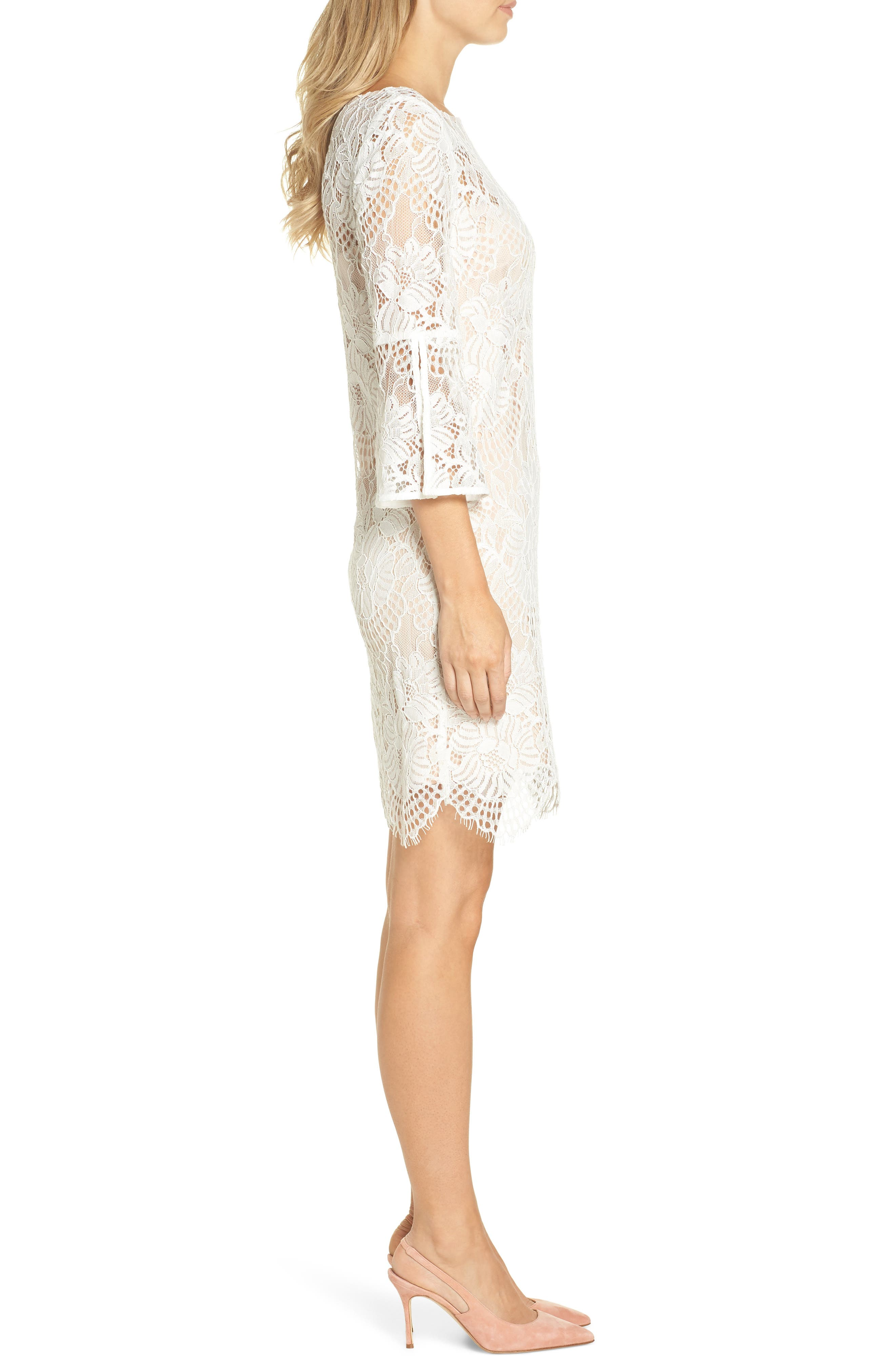 VINCE CAMUTO,                             Lace Shift Dress,                             Alternate thumbnail 3, color,                             IVORY