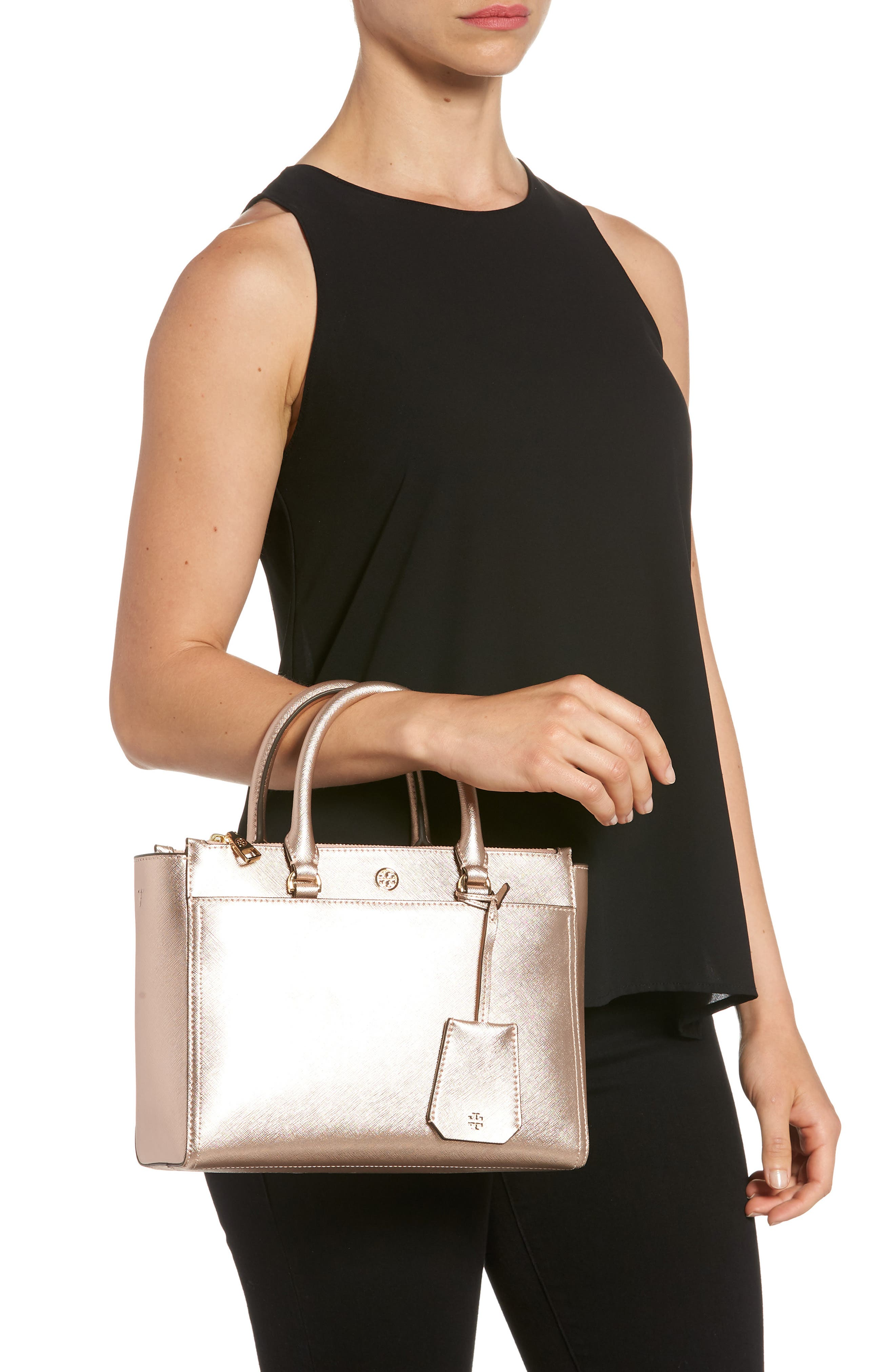 Small Robinson Double-Zip Metallic Leather Tote,                             Alternate thumbnail 2, color,                             LIGHT ROSE GOLD