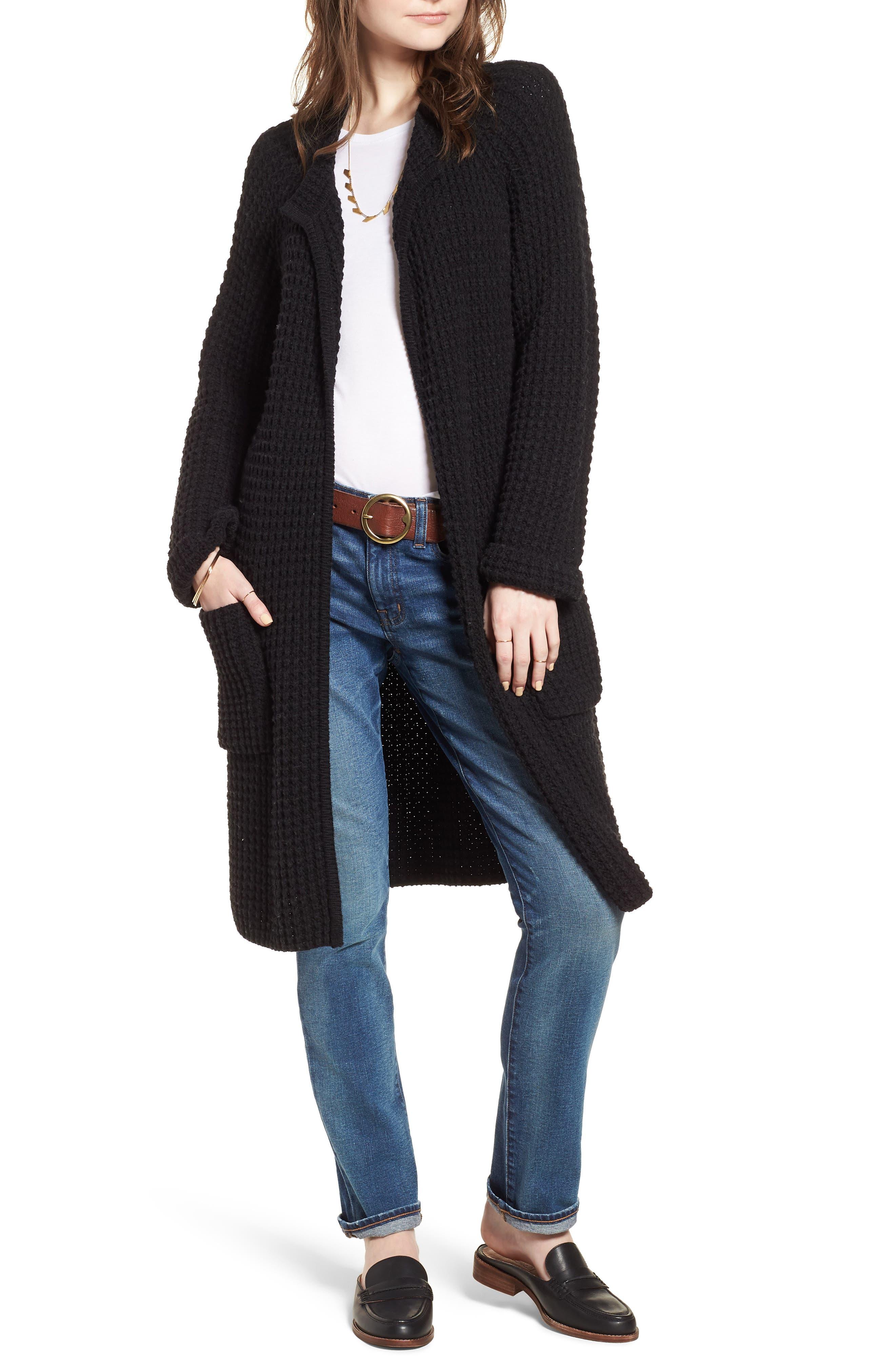 Waffle Stitch Sweater Jacket,                         Main,                         color, 001