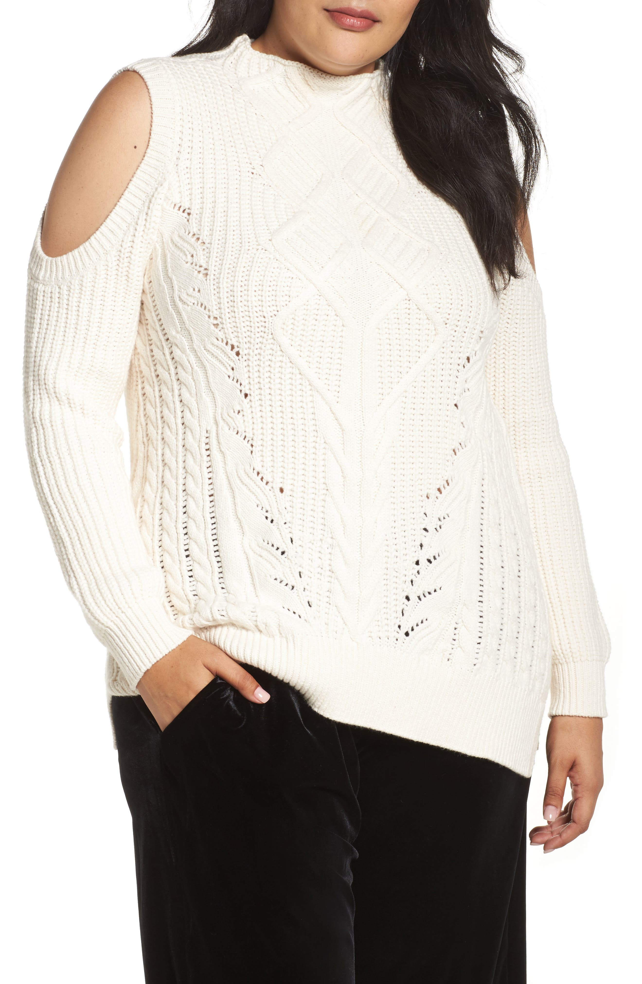 Cold Shoulder Cable Sweater,                             Main thumbnail 3, color,
