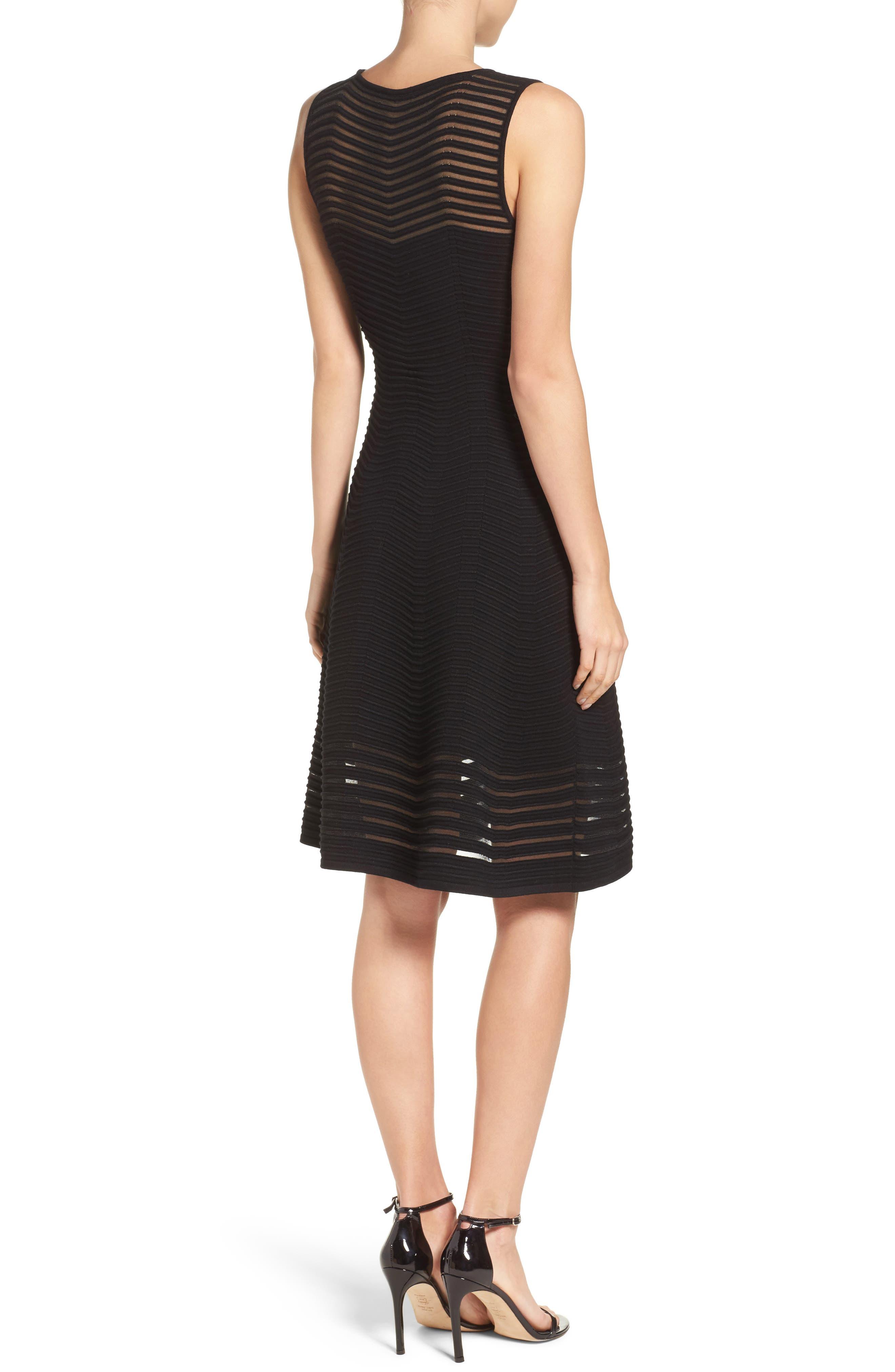 Chevron Fit & Flare Dress,                             Alternate thumbnail 2, color,                             001
