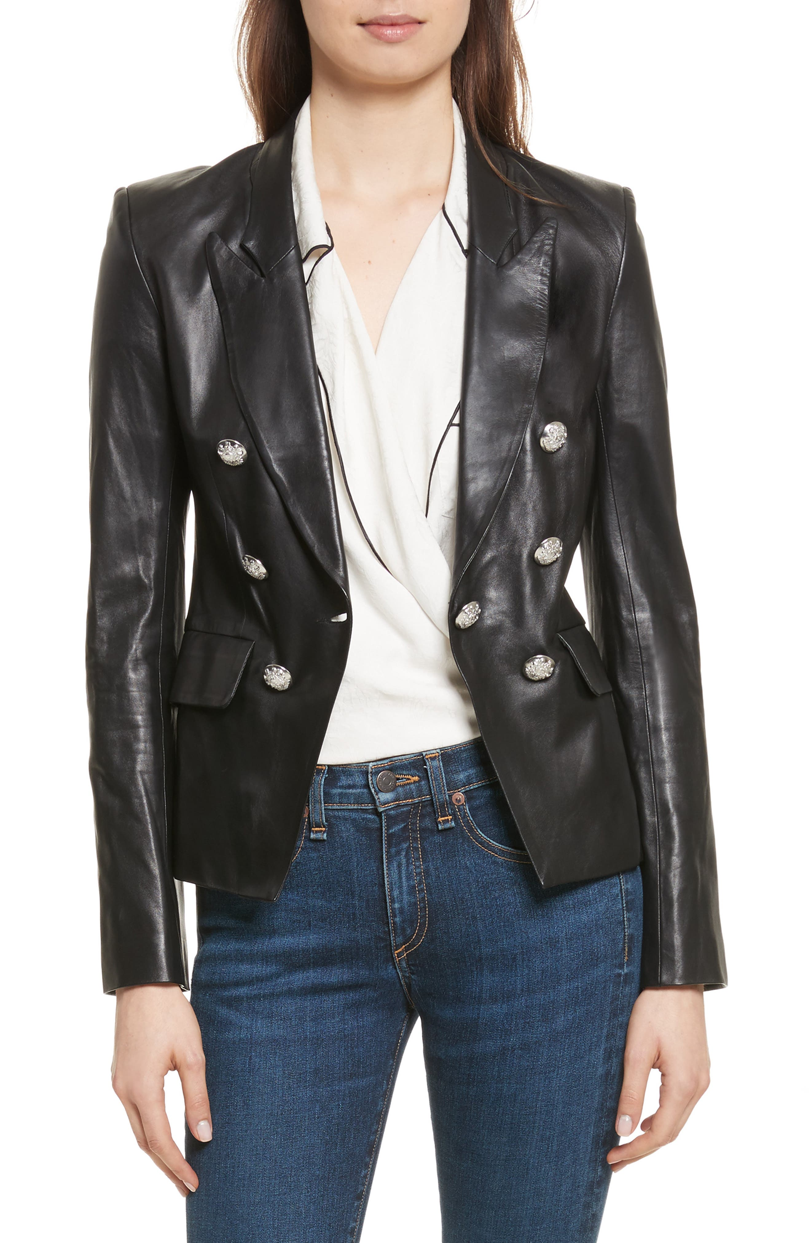 Cooke Leather Jacket,                         Main,                         color, 001