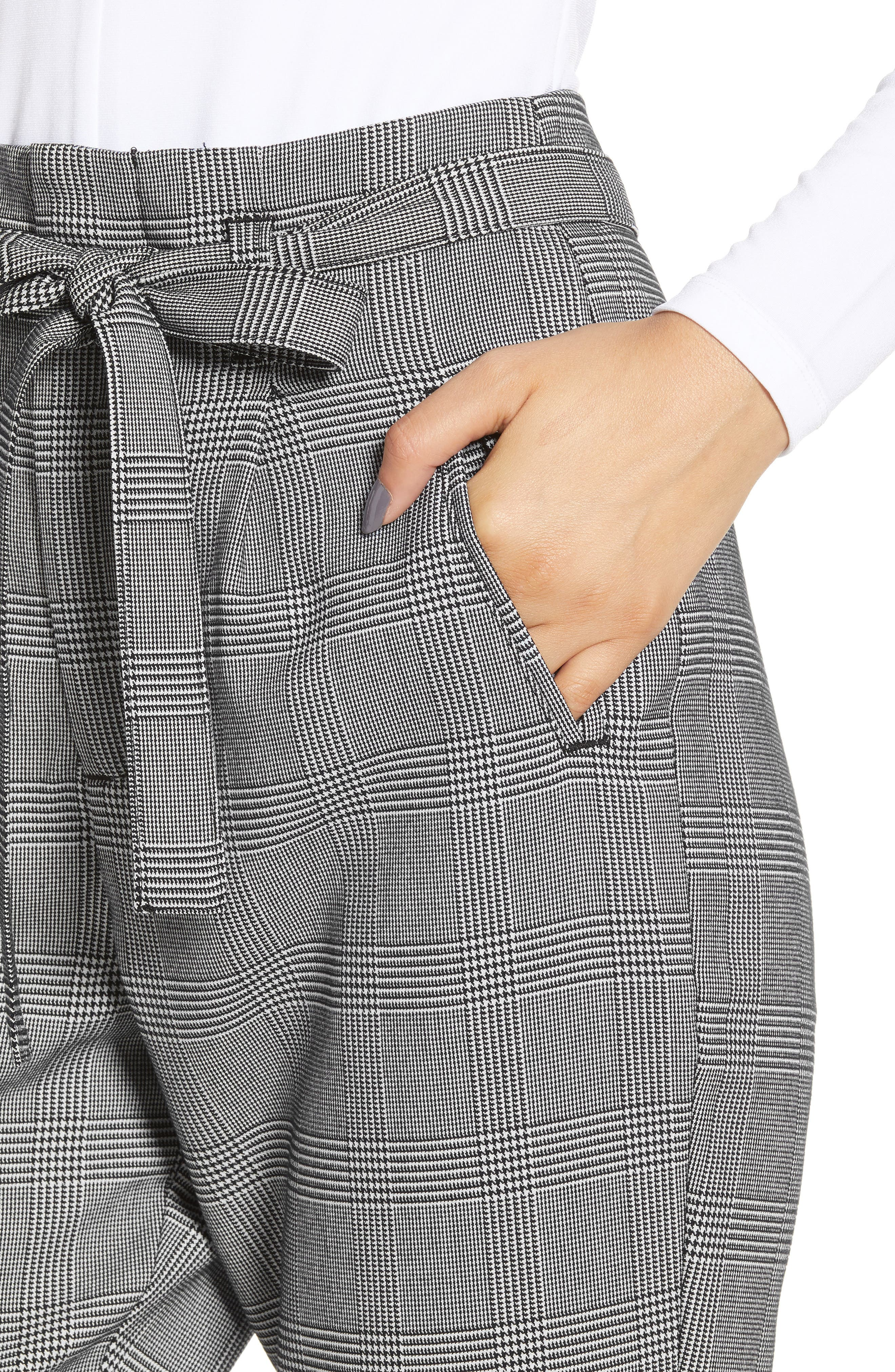 Paperbag Taper Leg Ankle Pants,                             Alternate thumbnail 6, color,                             GREY/ BLACK
