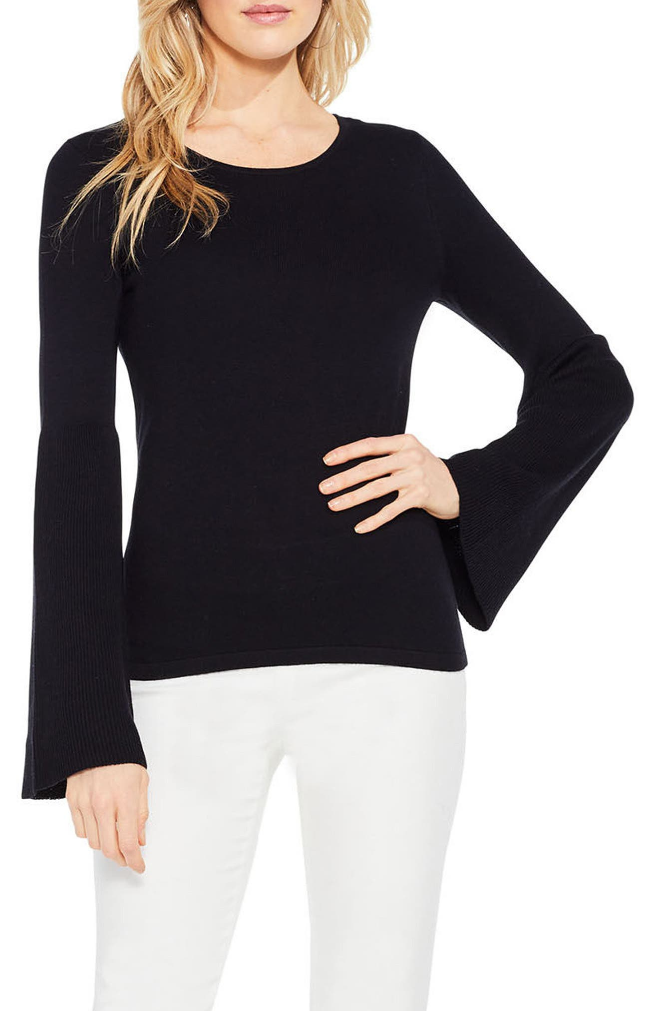 Ribbed Bell Sleeve Sweater,                             Main thumbnail 1, color,                             006