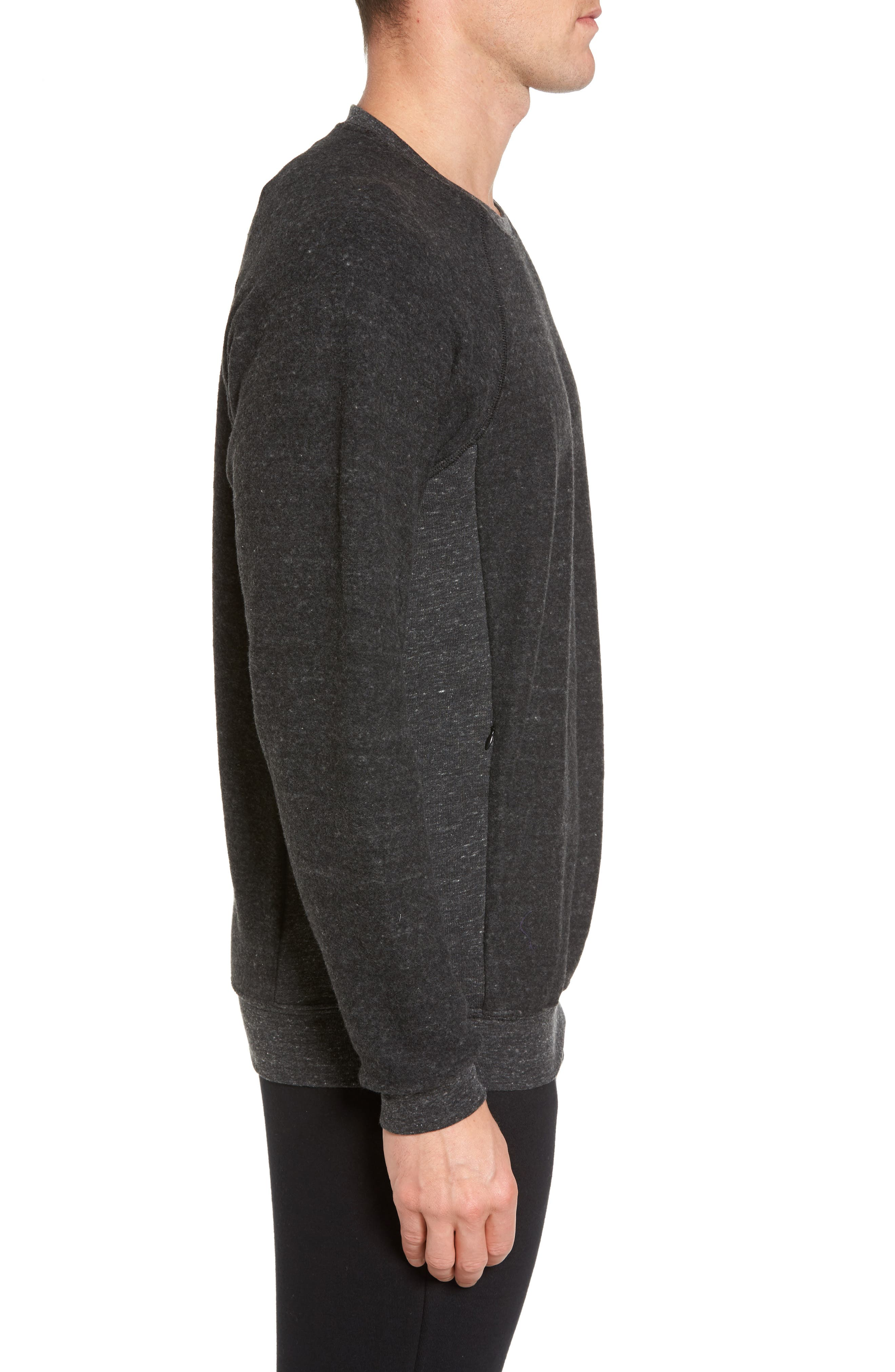 Relaxed Fit Felted Sweatshirt,                             Alternate thumbnail 3, color,                             CHARCOAL BLACK TRIBLEND