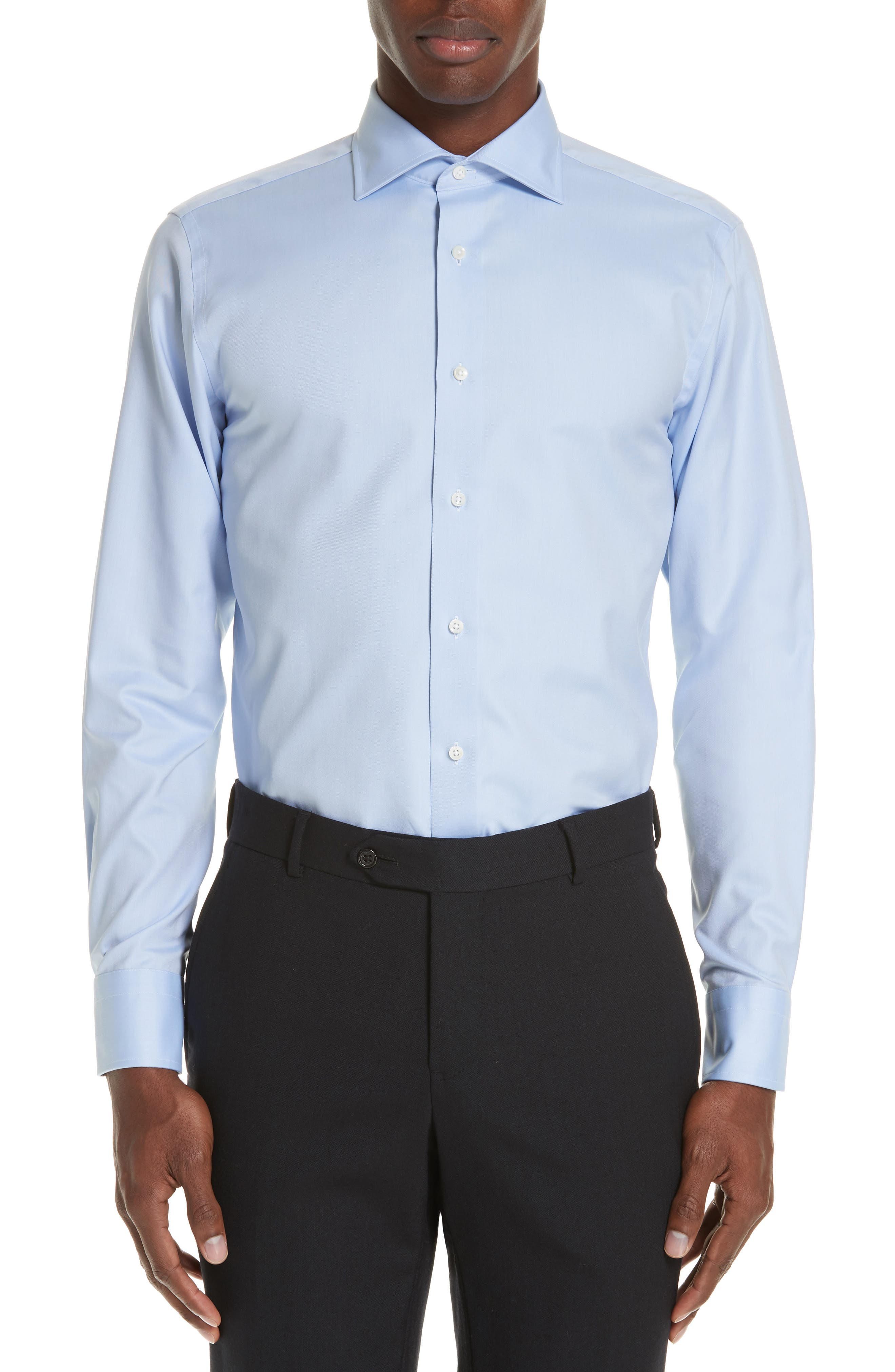 Trim Fit Solid Dress Shirt,                             Main thumbnail 1, color,                             BLUE