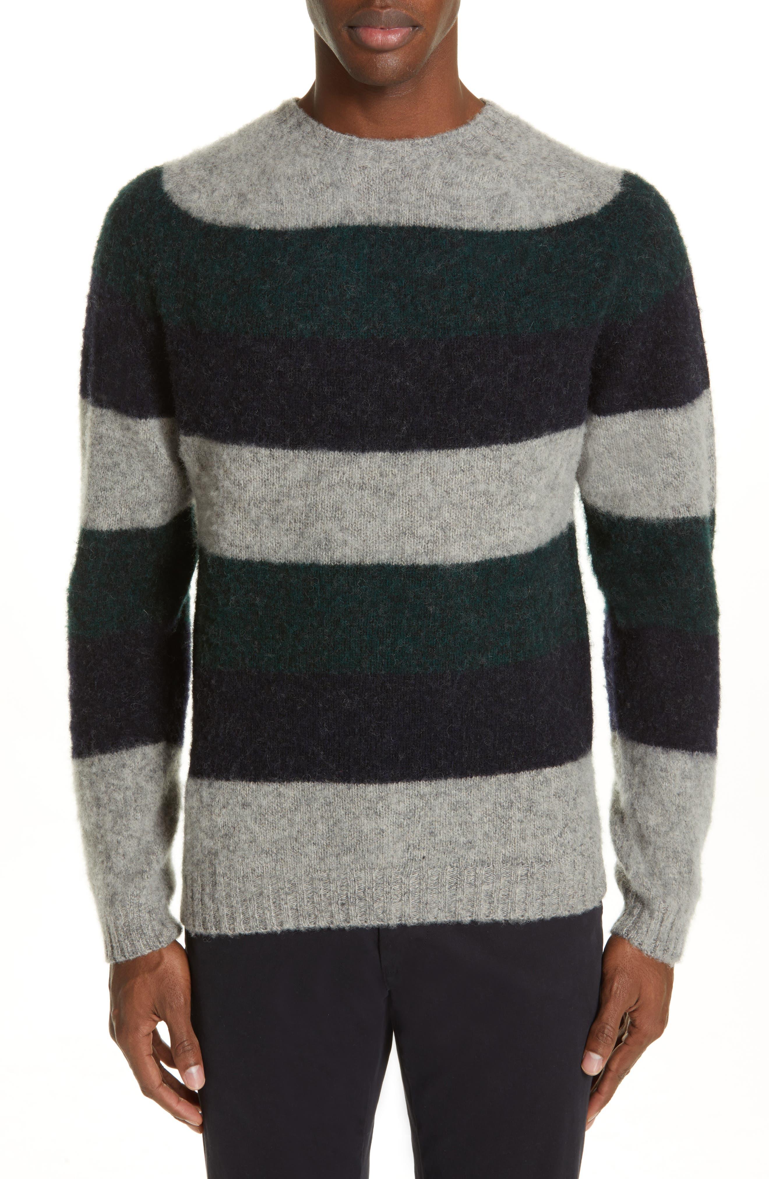 NORSE PROJECTS Birnir Stripe Brushed Wool Sweater in Spinnaker Green Stripe