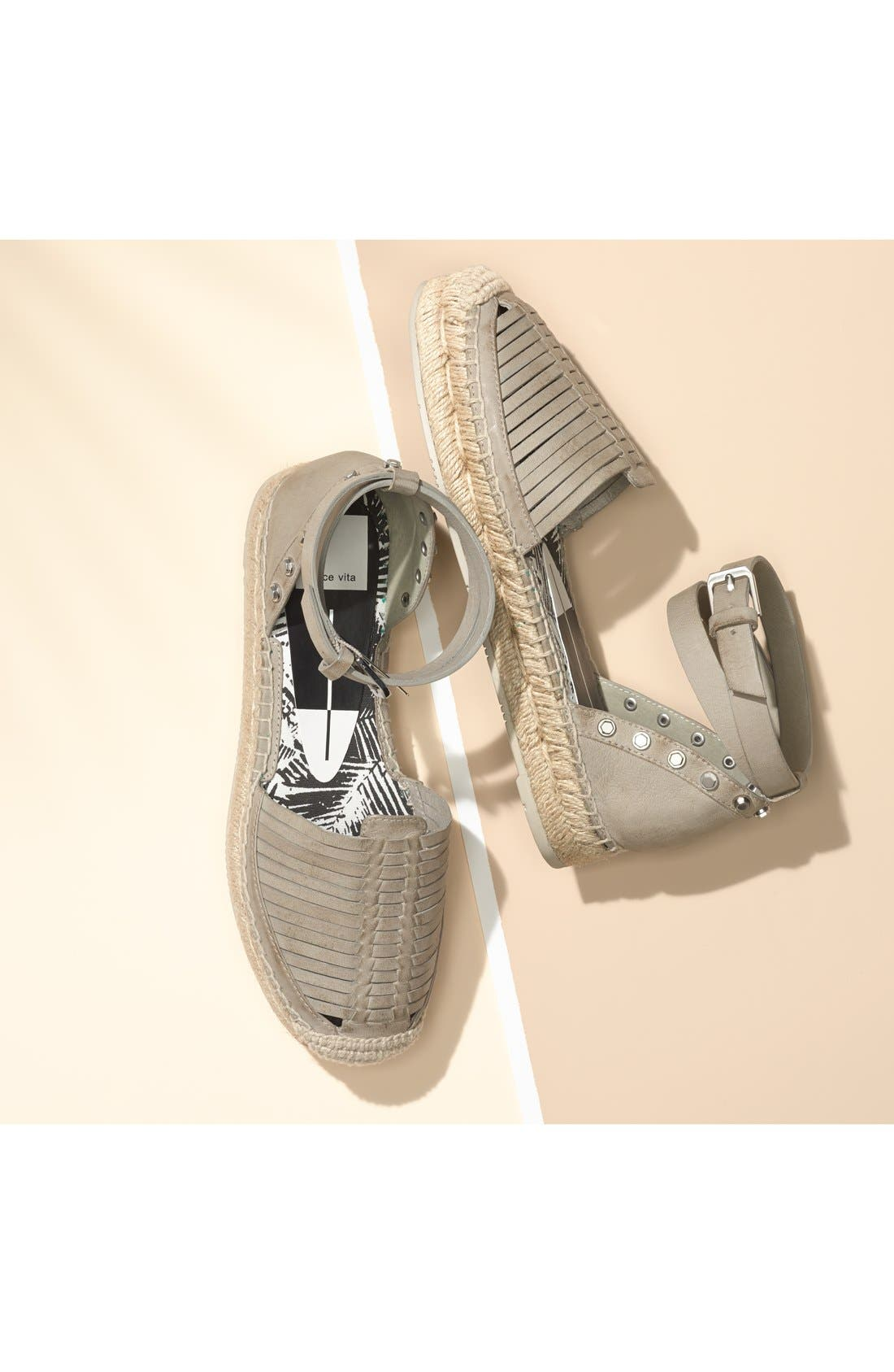'Ceyla' Leather Ankle Strap Espadrille,                             Alternate thumbnail 5, color,                             001