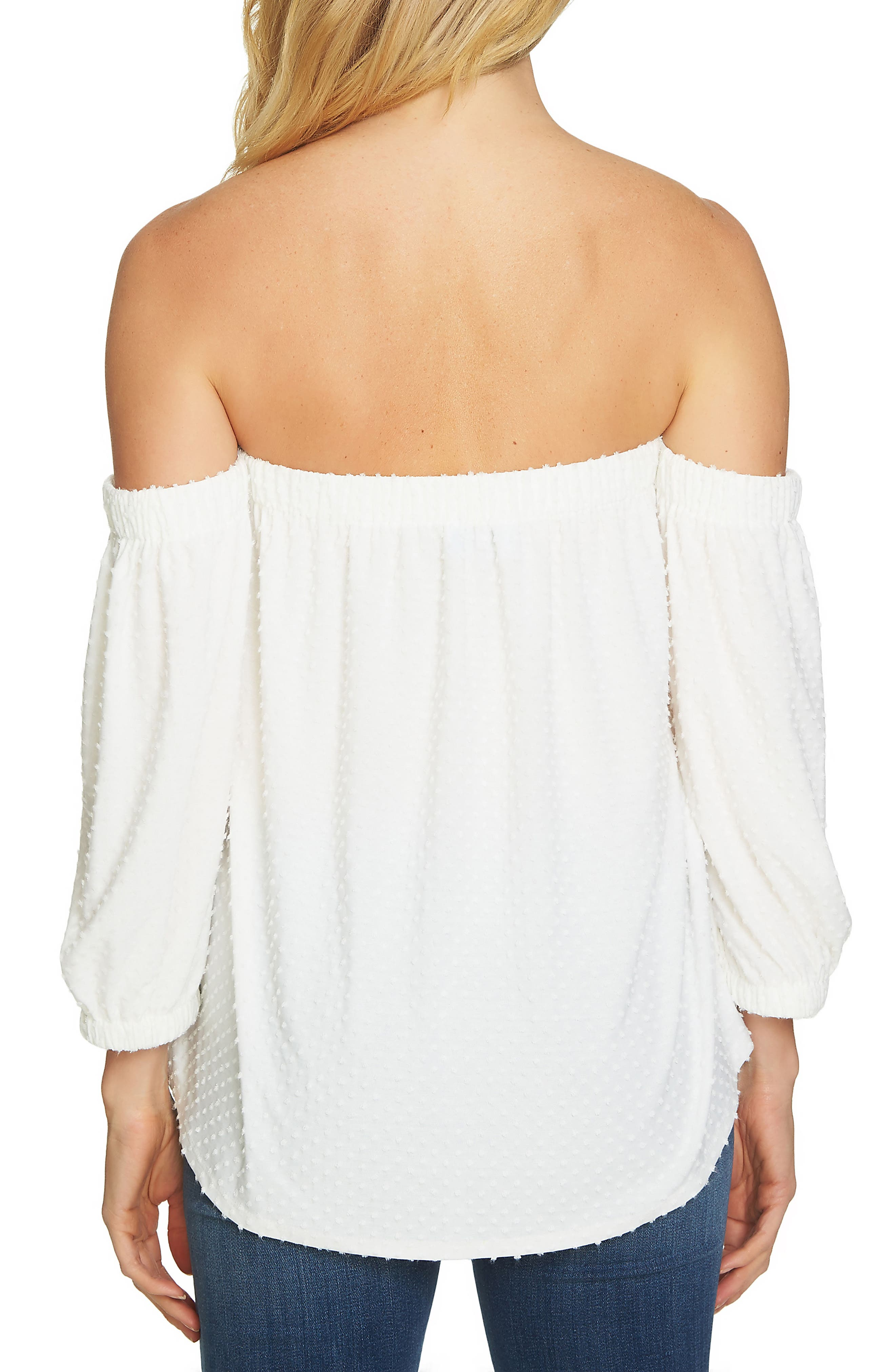 Off the Shoulder Clipped Knit Top,                             Alternate thumbnail 2, color,                             903