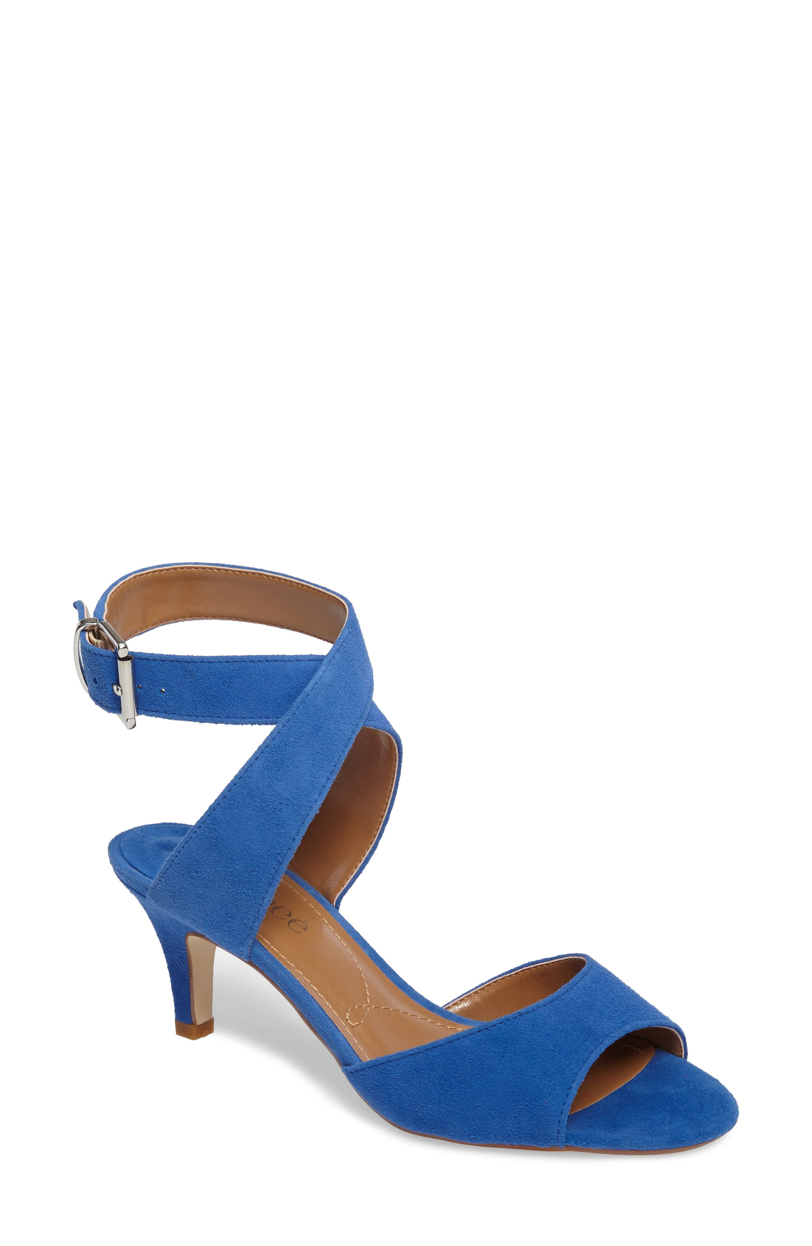 'Soncino' Ankle Strap Sandal,                             Main thumbnail 1, color,                             BLUE FABRIC