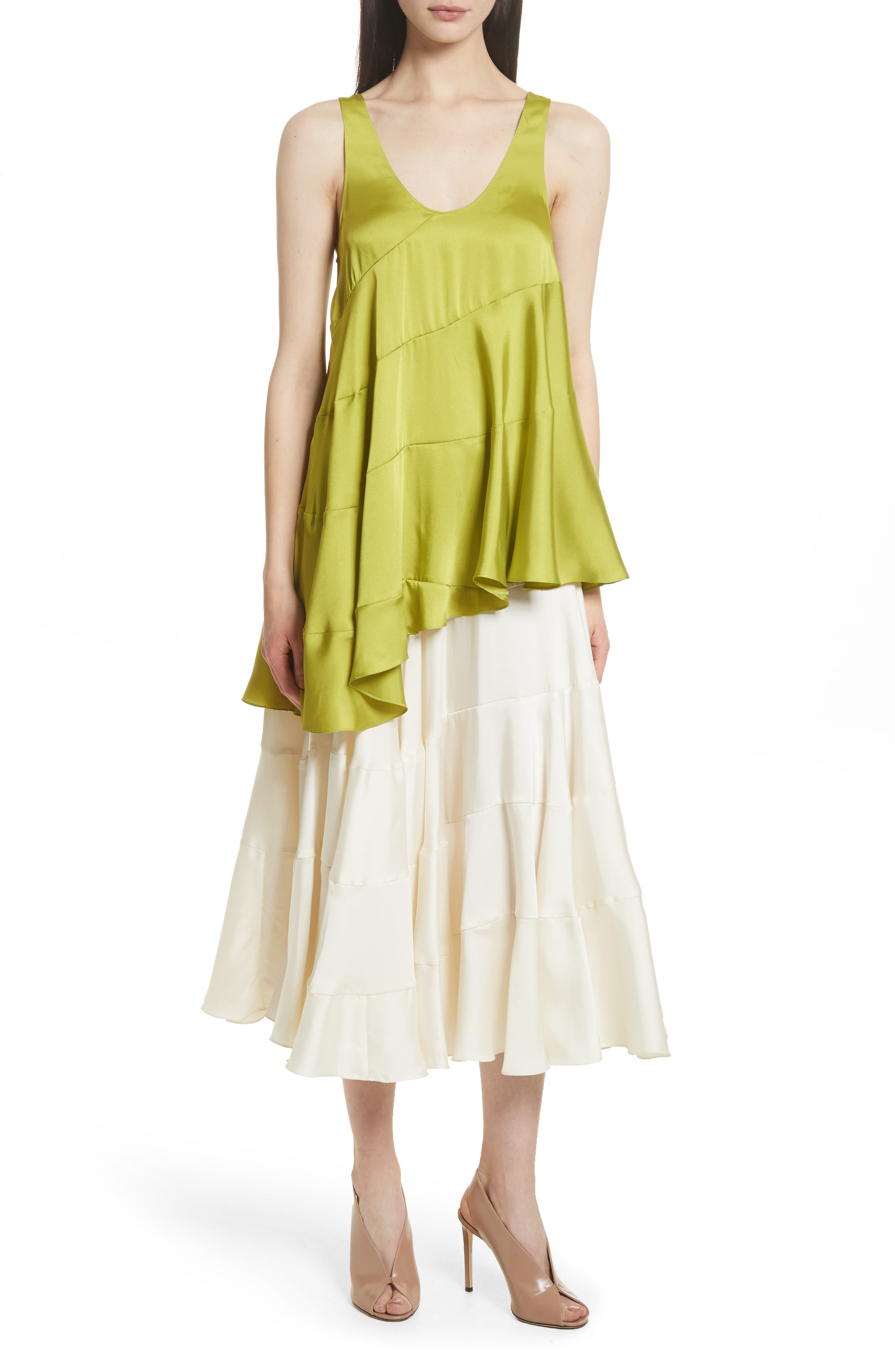 Lasse Satin Paneled Midi Skirt,                             Alternate thumbnail 7, color,                             103