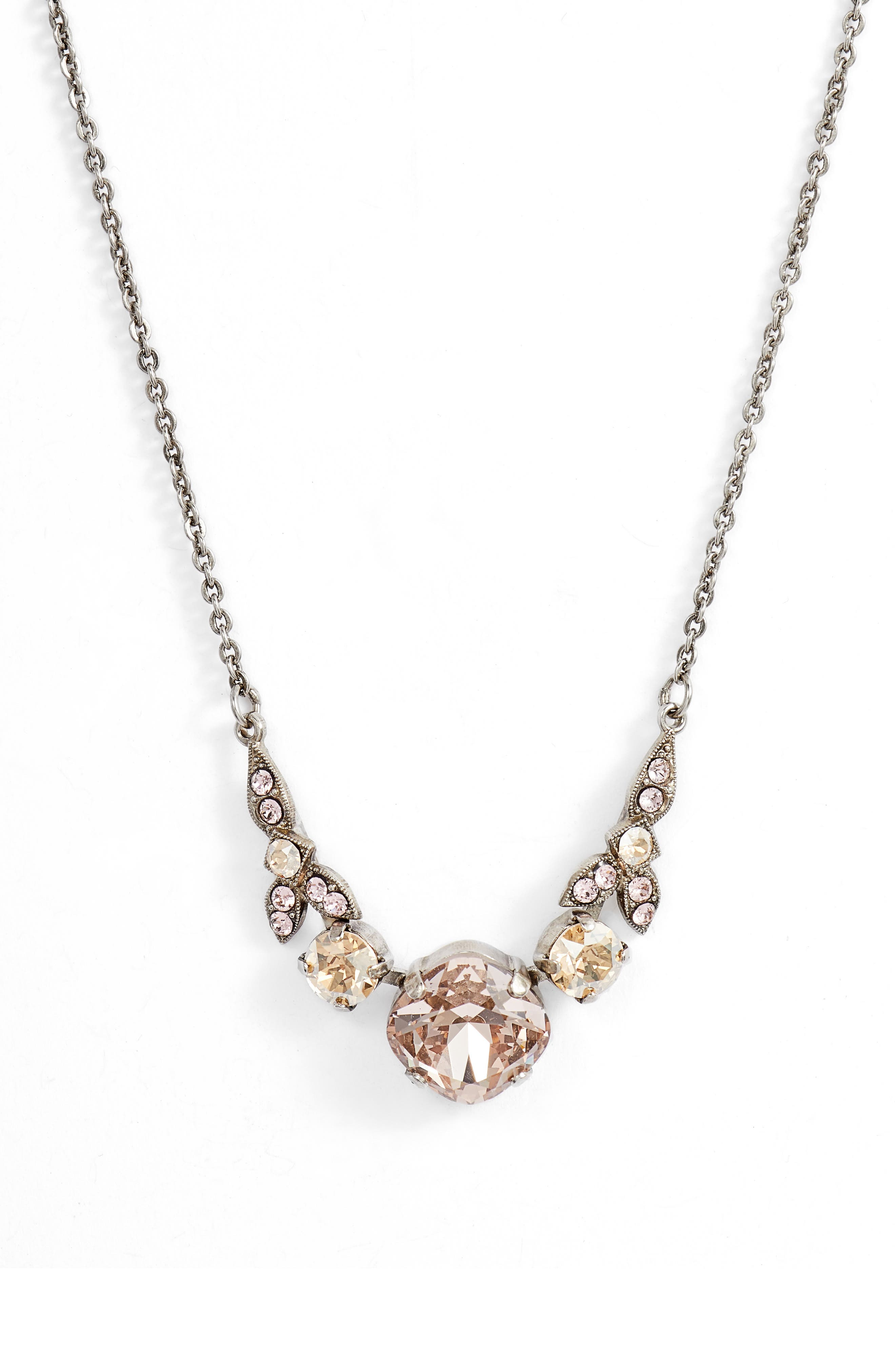 Decidedly Deco Crystal Necklace,                             Main thumbnail 1, color,                             PINK