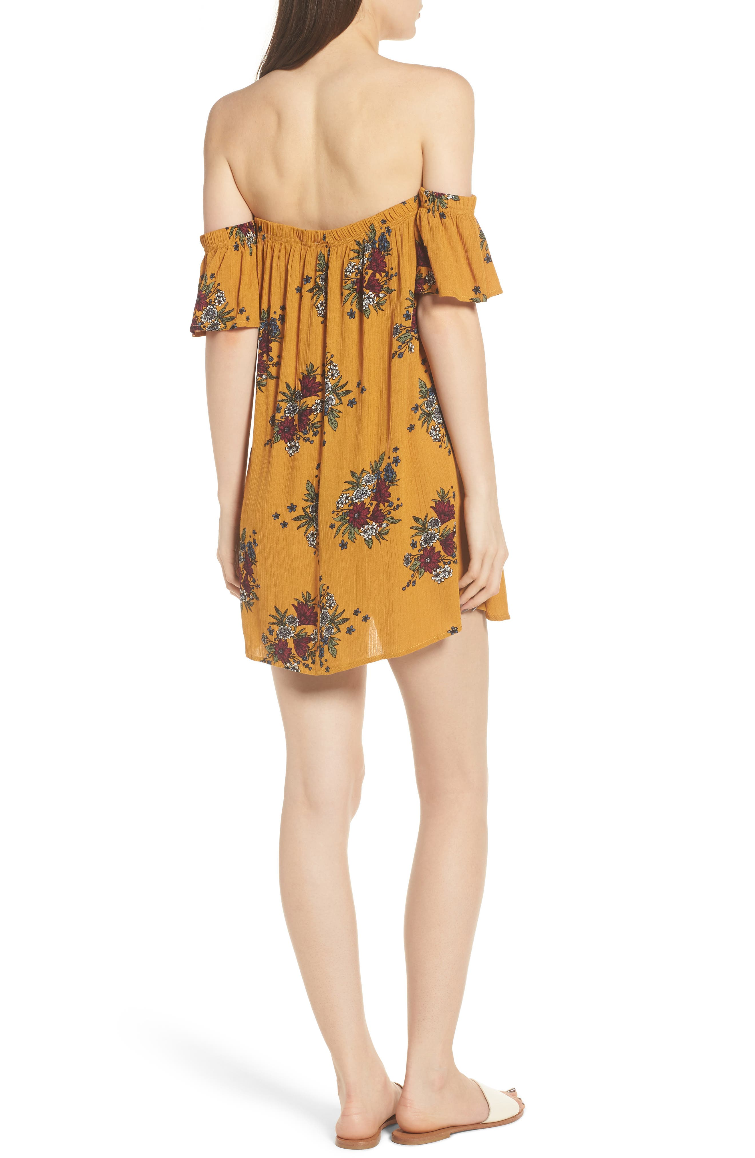 Road to Indio Print Off the Shoulder Dress,                             Alternate thumbnail 4, color,