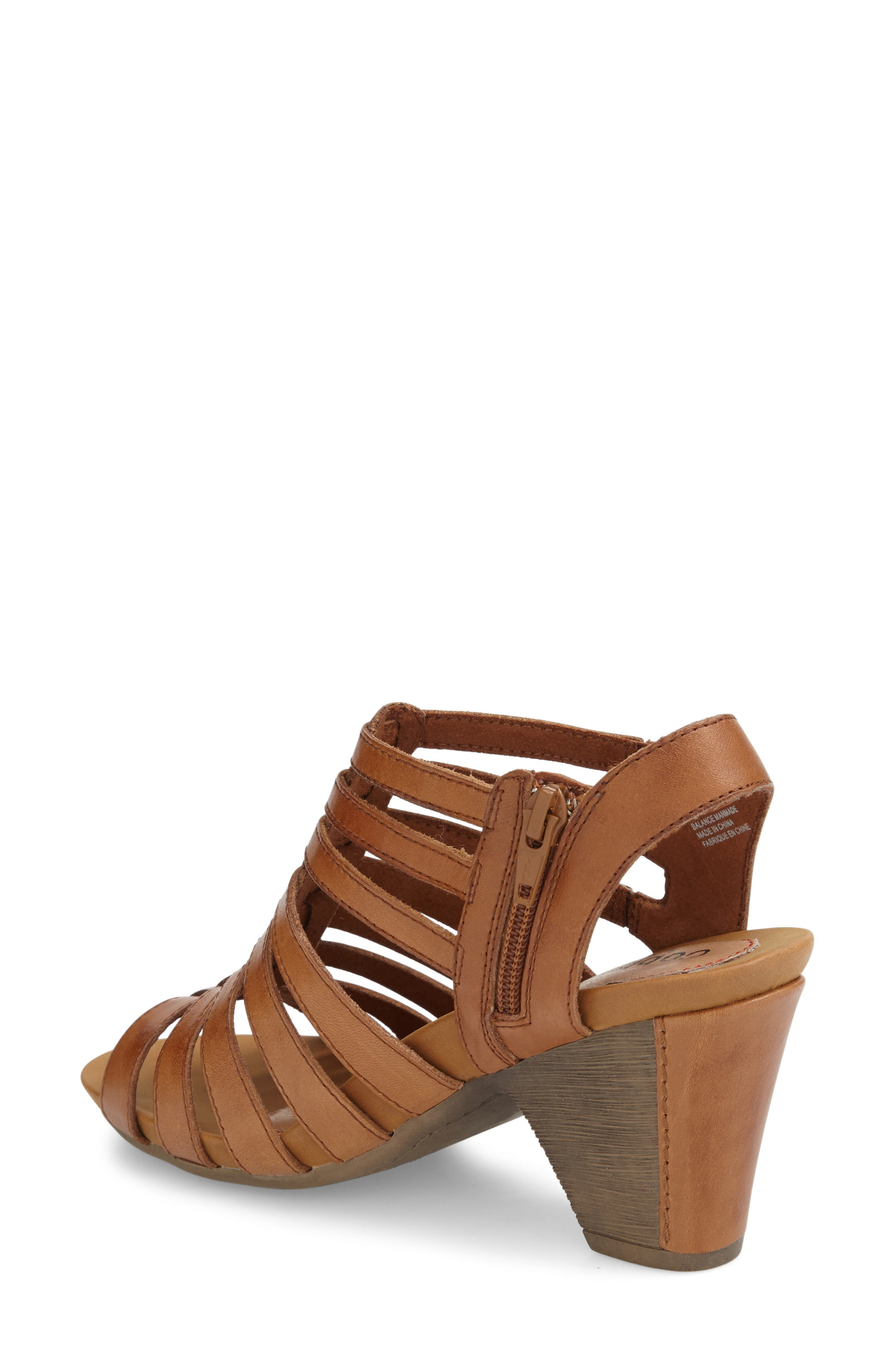 'Taylor' Caged Sandal,                             Alternate thumbnail 6, color,                             TAN LEATHER