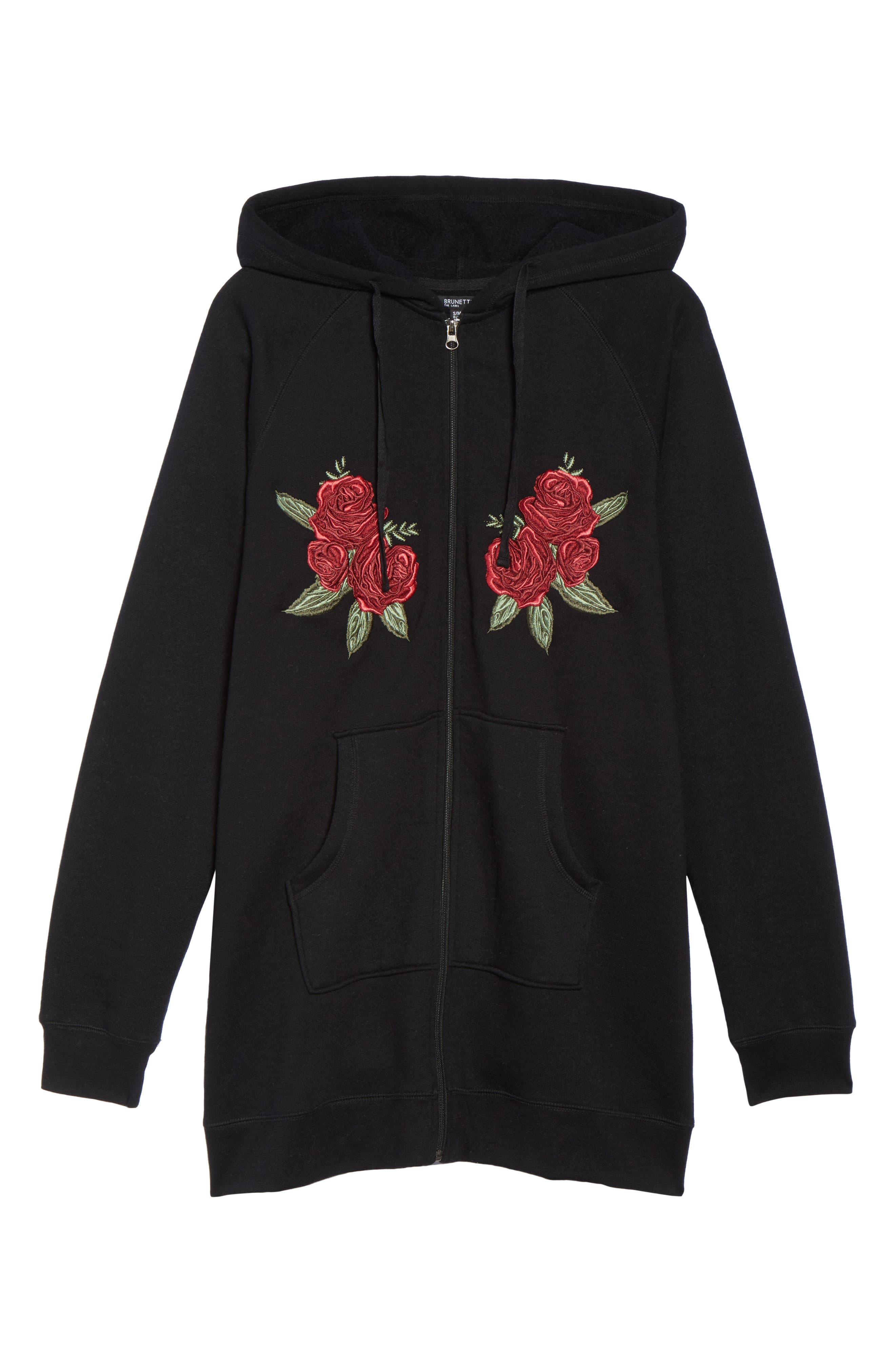 Brunette Embroidered Zip Hoodie,                             Alternate thumbnail 6, color,