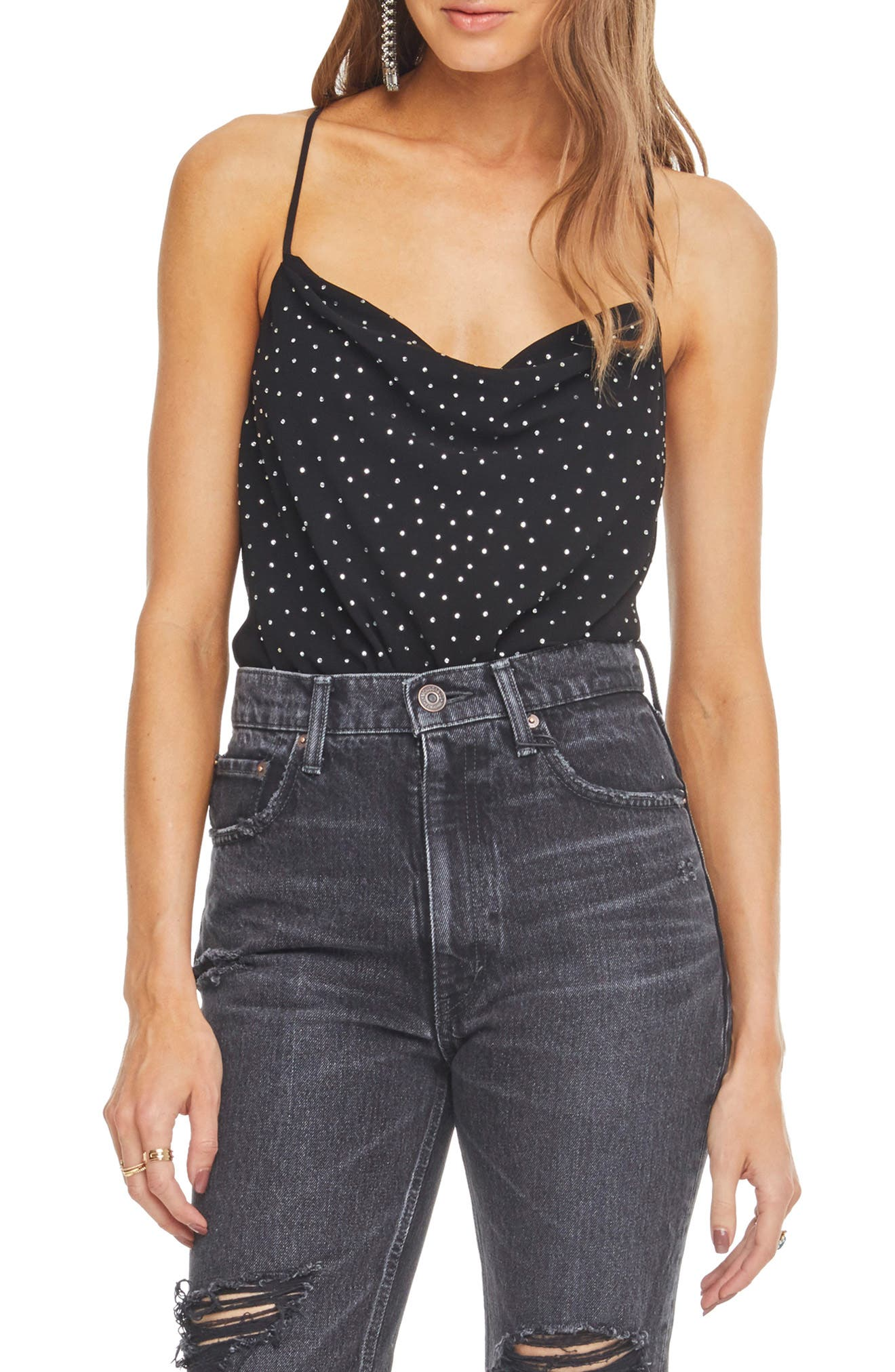 Cosmo Embellished Cowl-Neck Bodysuit in Black