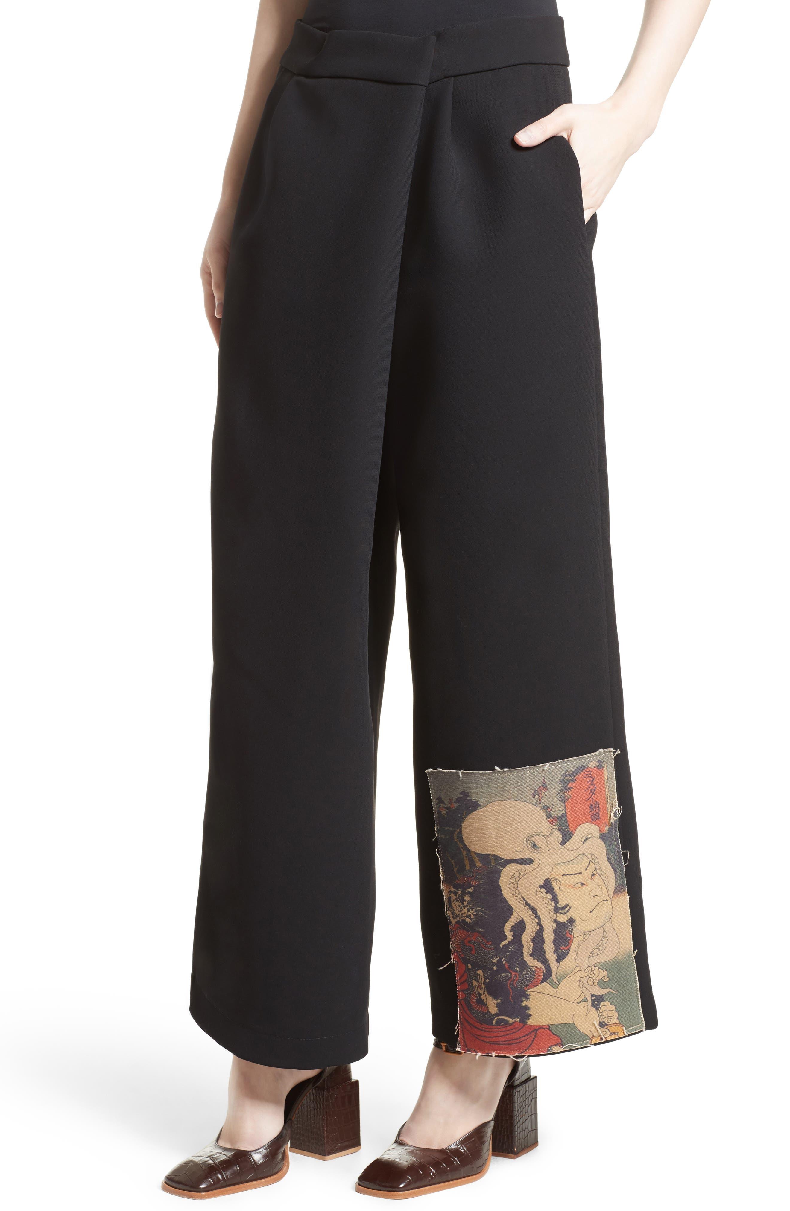Patch Detail Wide Leg Pants,                             Alternate thumbnail 4, color,                             001