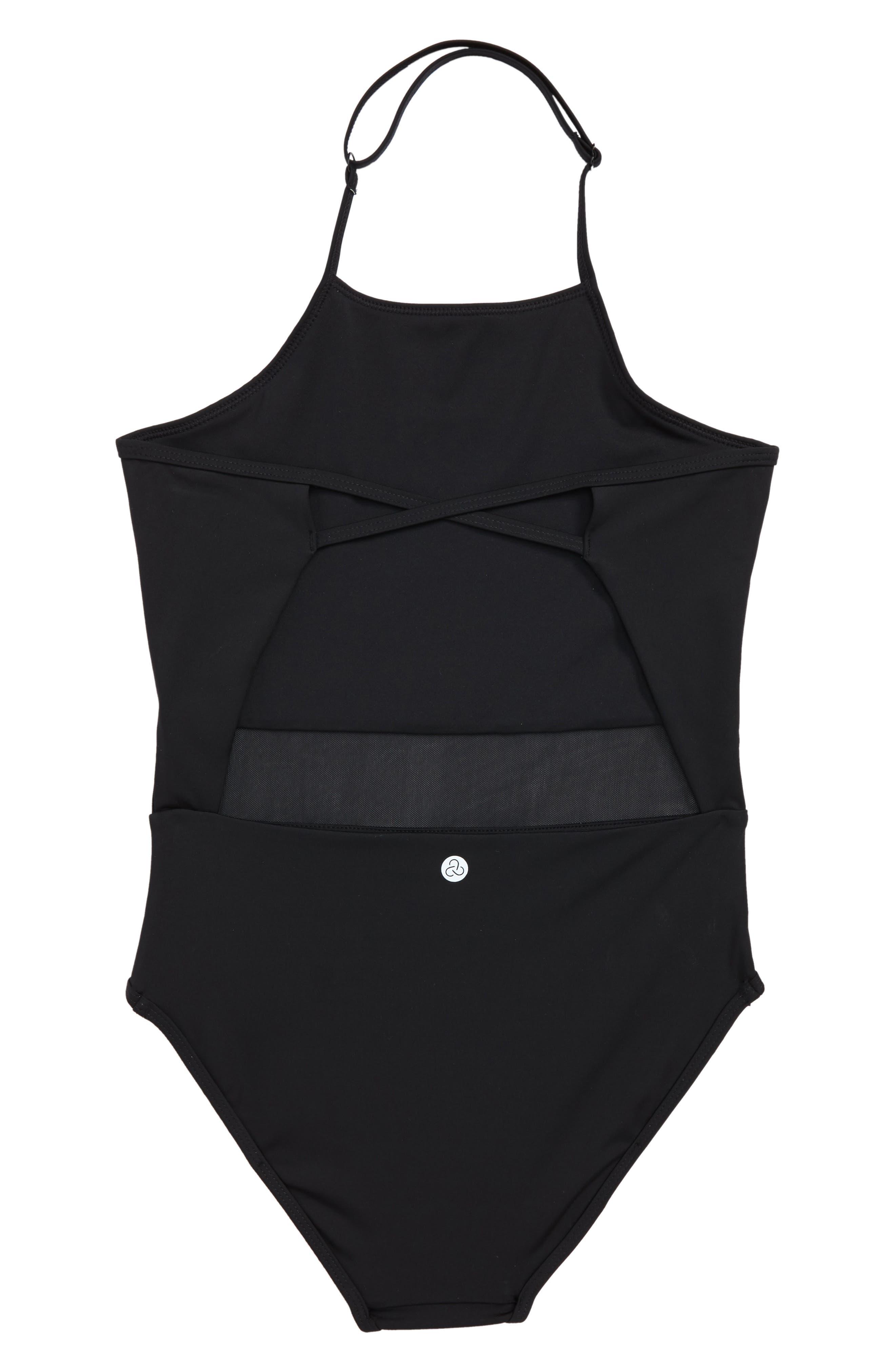 Horizon Mesh Inset One-Piece Swimsuit,                             Alternate thumbnail 2, color,                             001