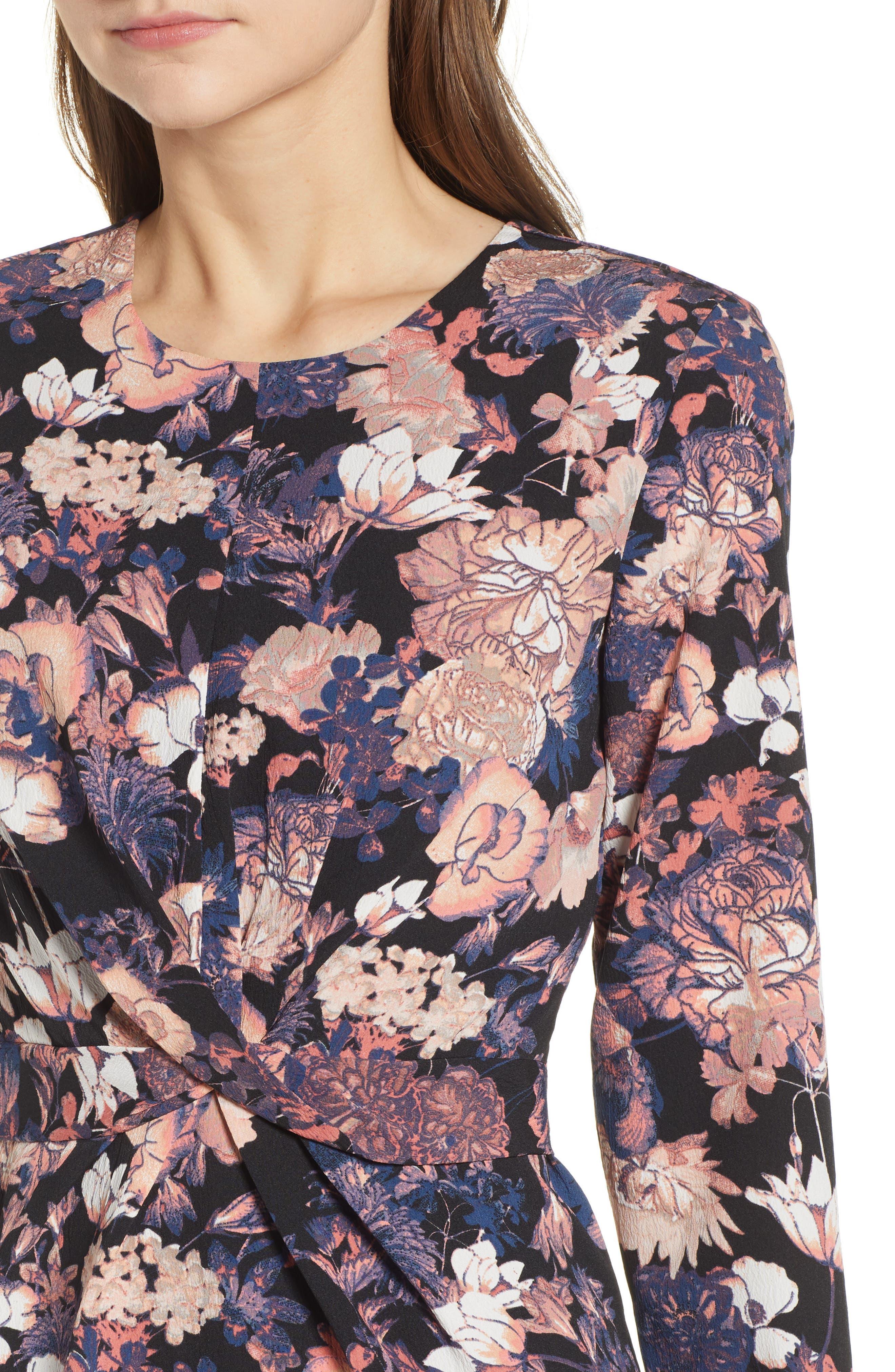 VERO MODA,                             Marlene Floral Drape Dress,                             Alternate thumbnail 5, color,                             BLACK PRINT