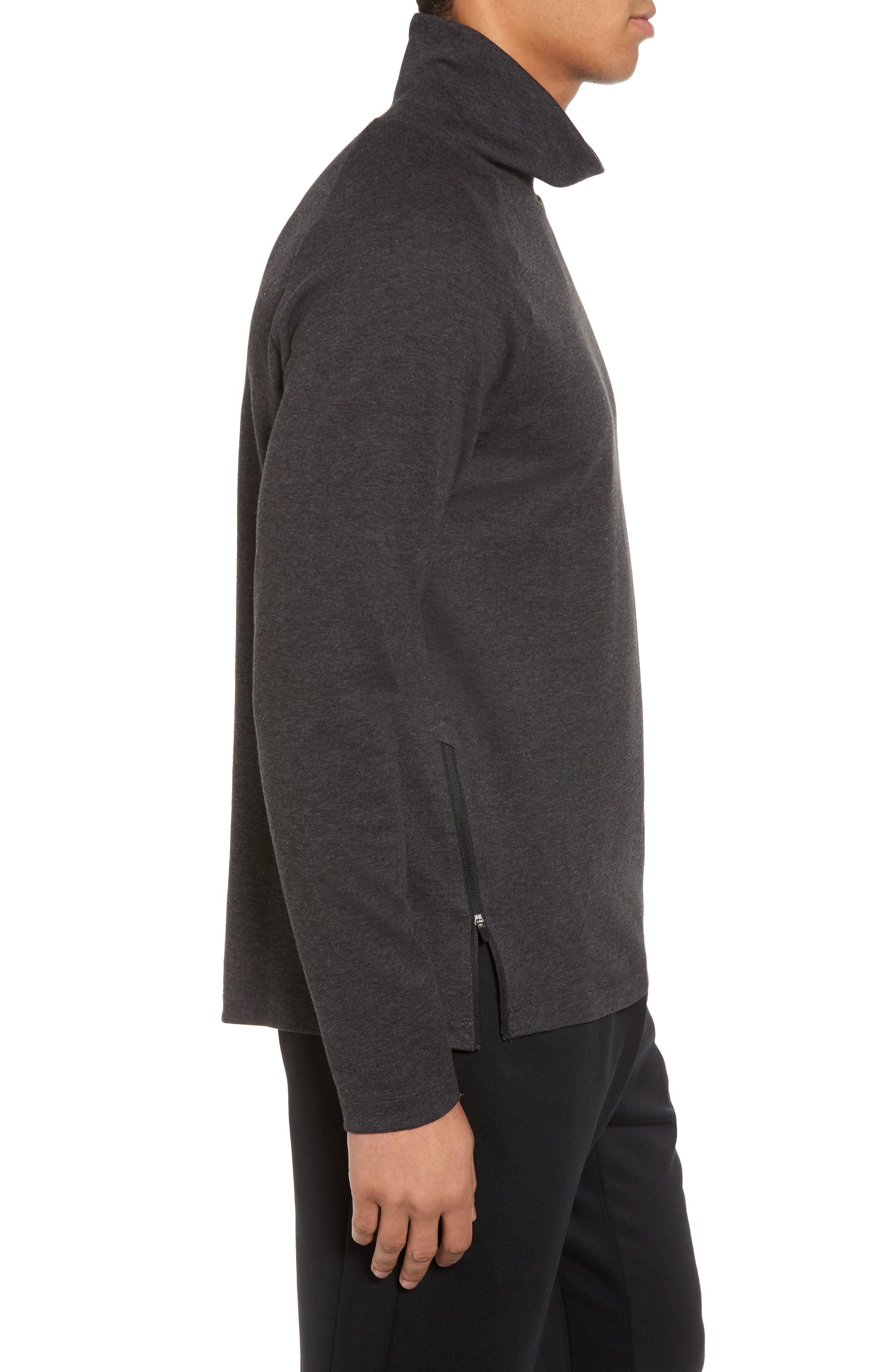 Mock Neck Long Sleeve Running T-Shirt,                             Alternate thumbnail 3, color,                             010