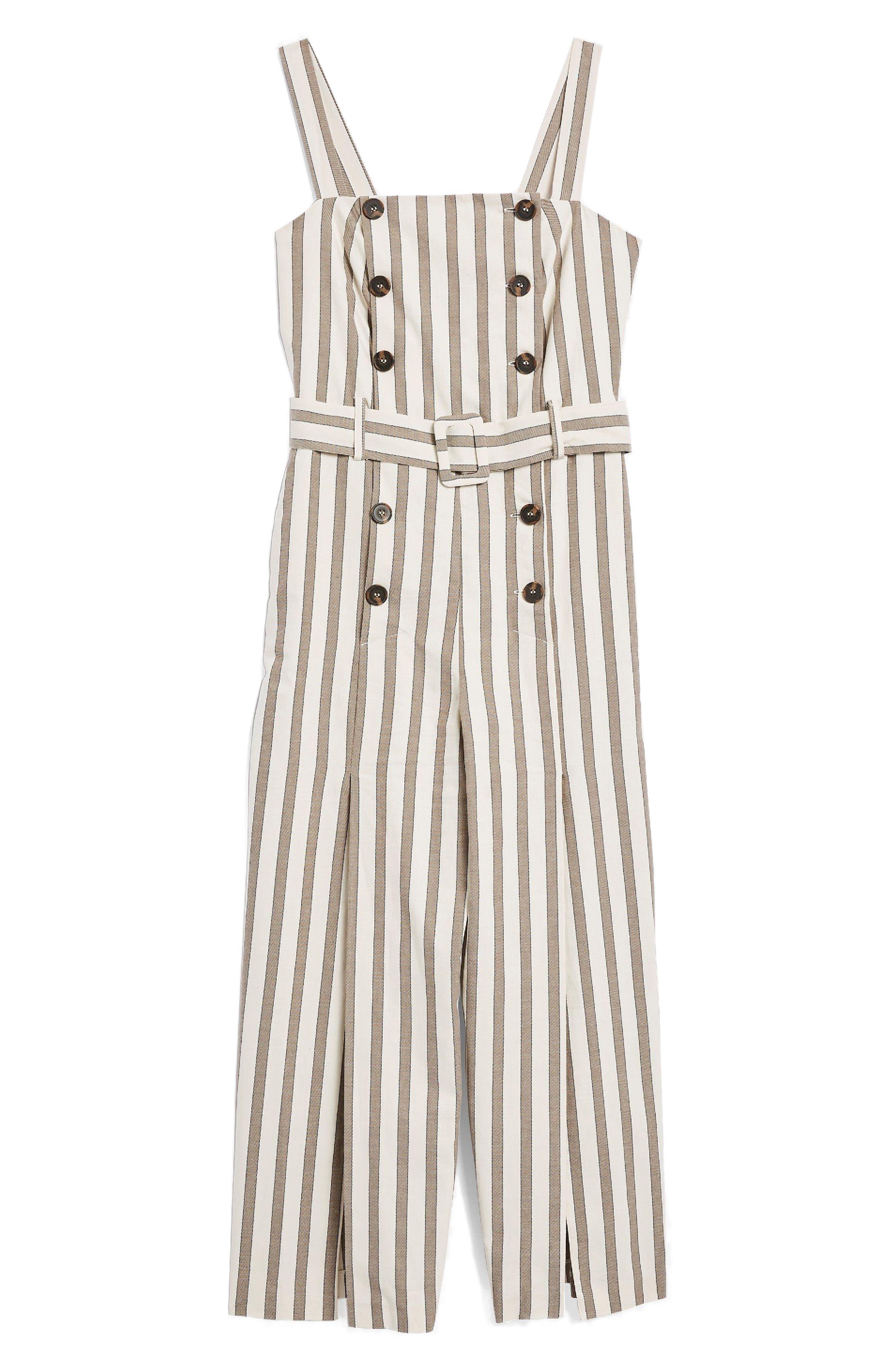 Button Stripe Cropped Jumpsuit,                             Alternate thumbnail 4, color,                             230