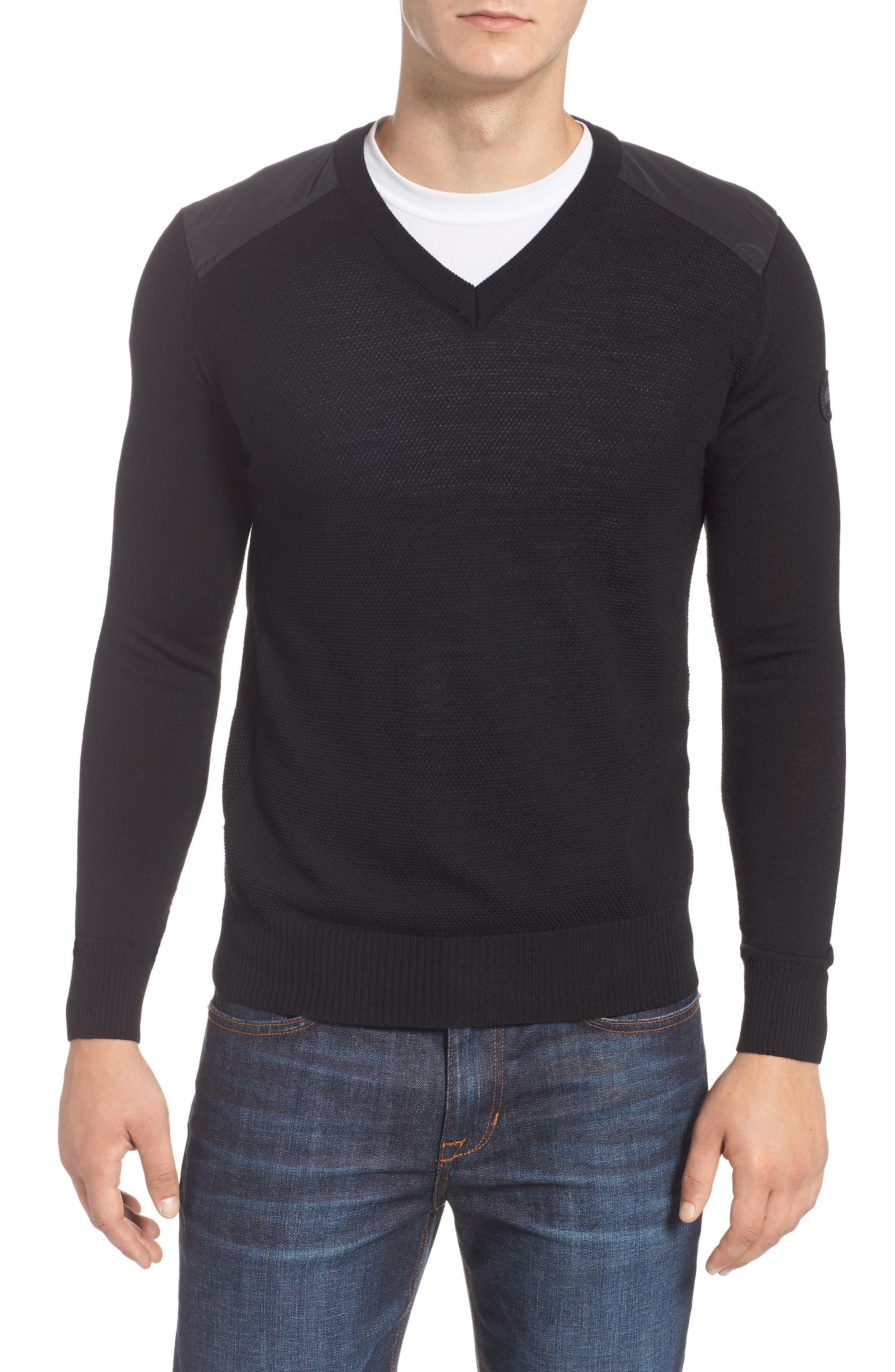 Mcleod V-Neck Regular Fit Merino Wool Sweater in Black