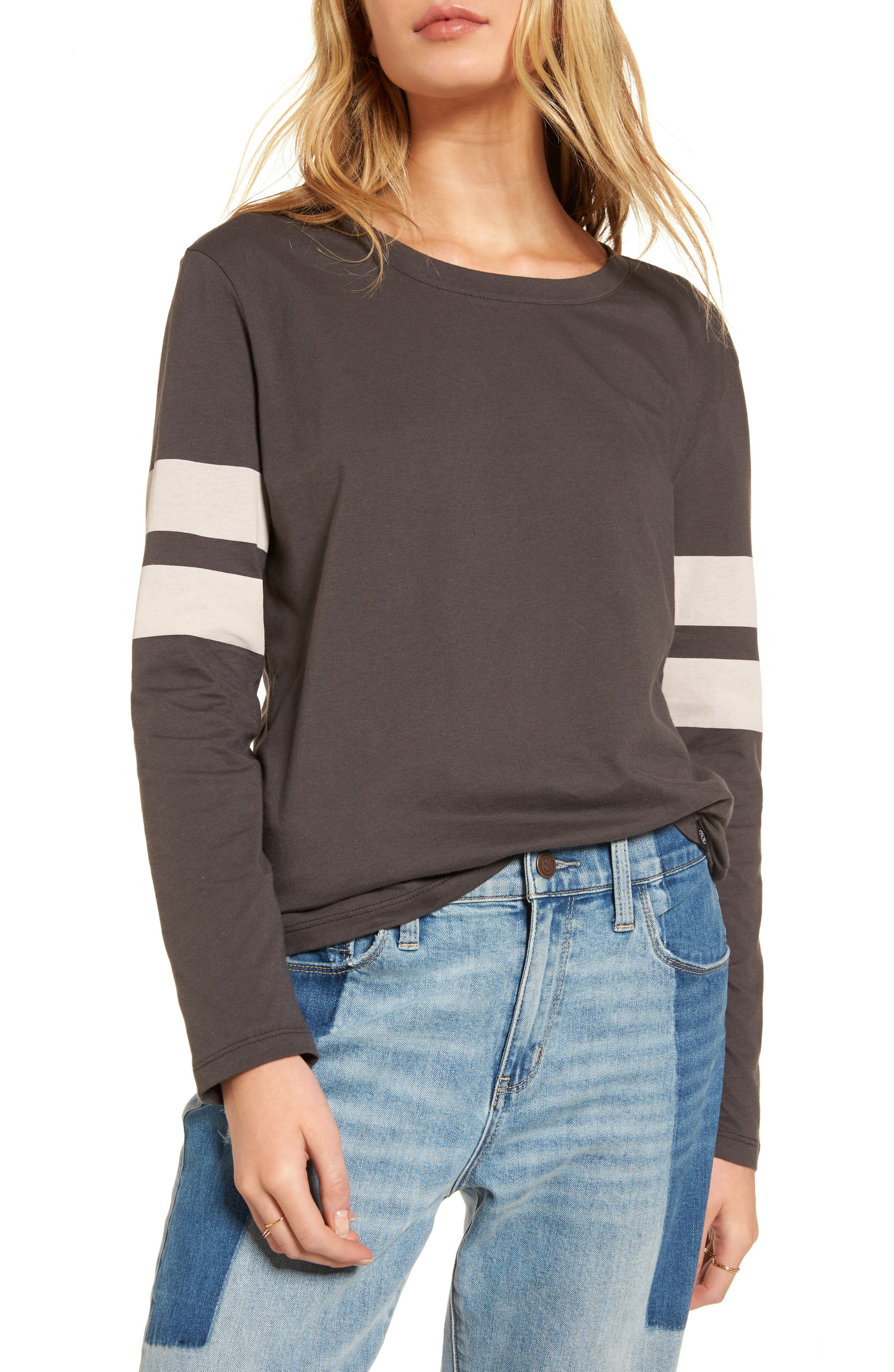 Varsity Stripe Cotton Tee,                             Main thumbnail 2, color,