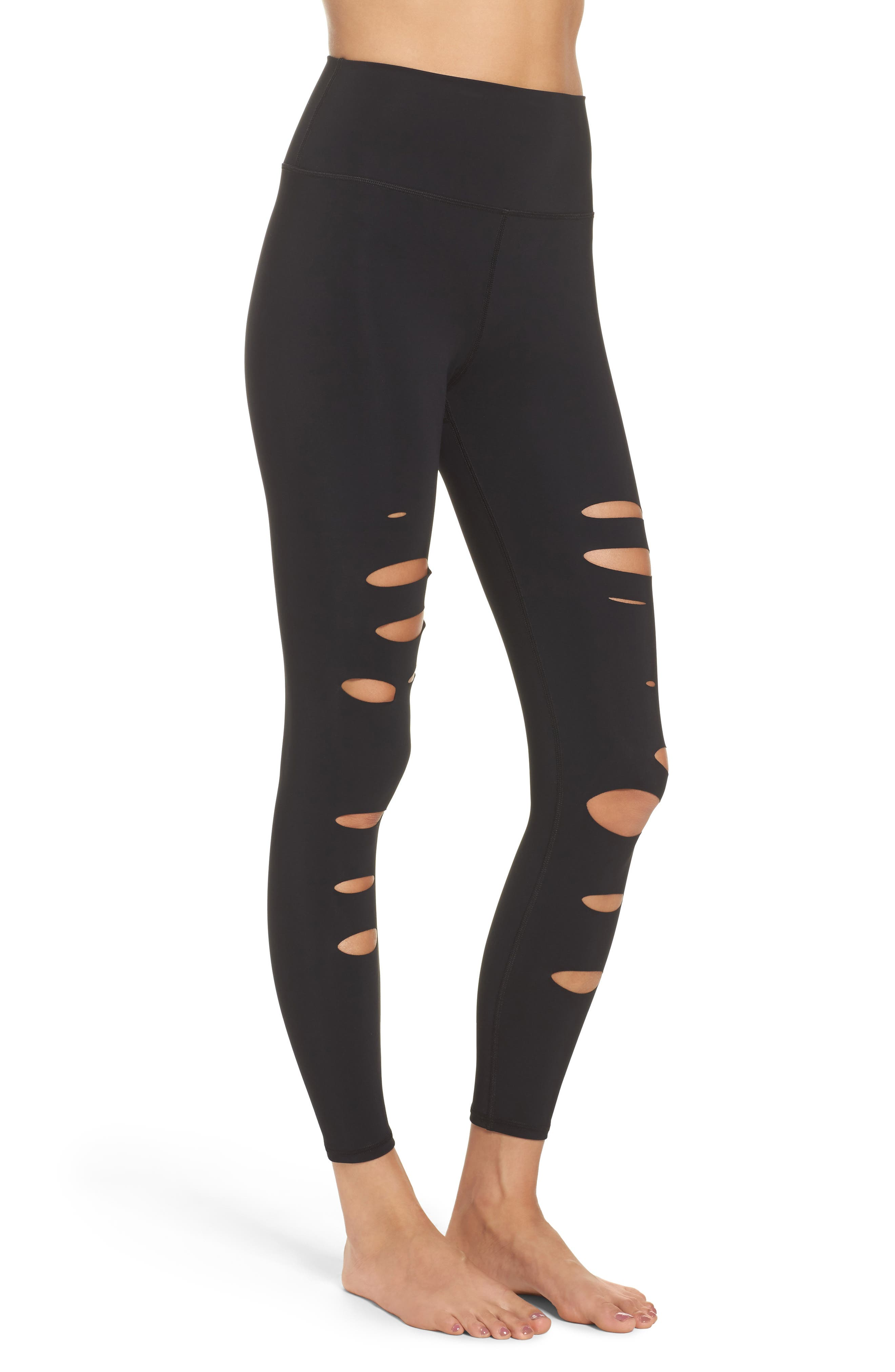 Ripped Warrior Midi Leggings,                             Alternate thumbnail 3, color,                             001