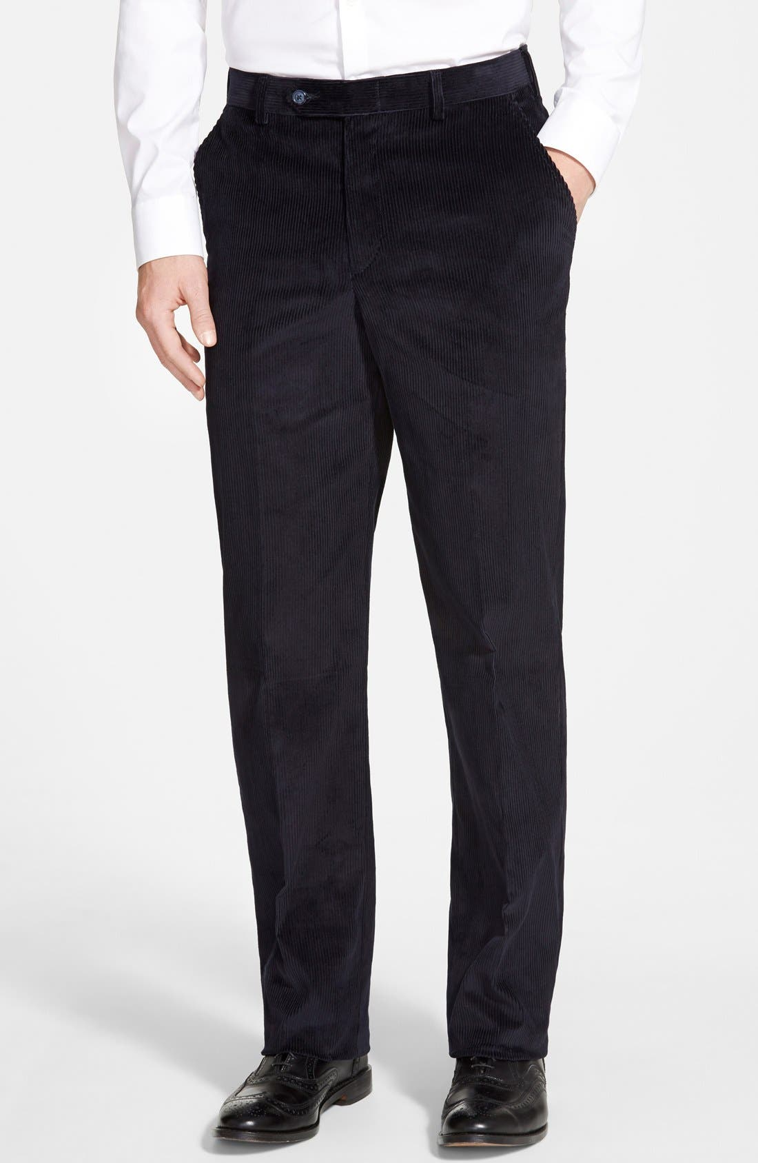 Flat Front Corduroy Trousers,                             Main thumbnail 1, color,                             NAVY